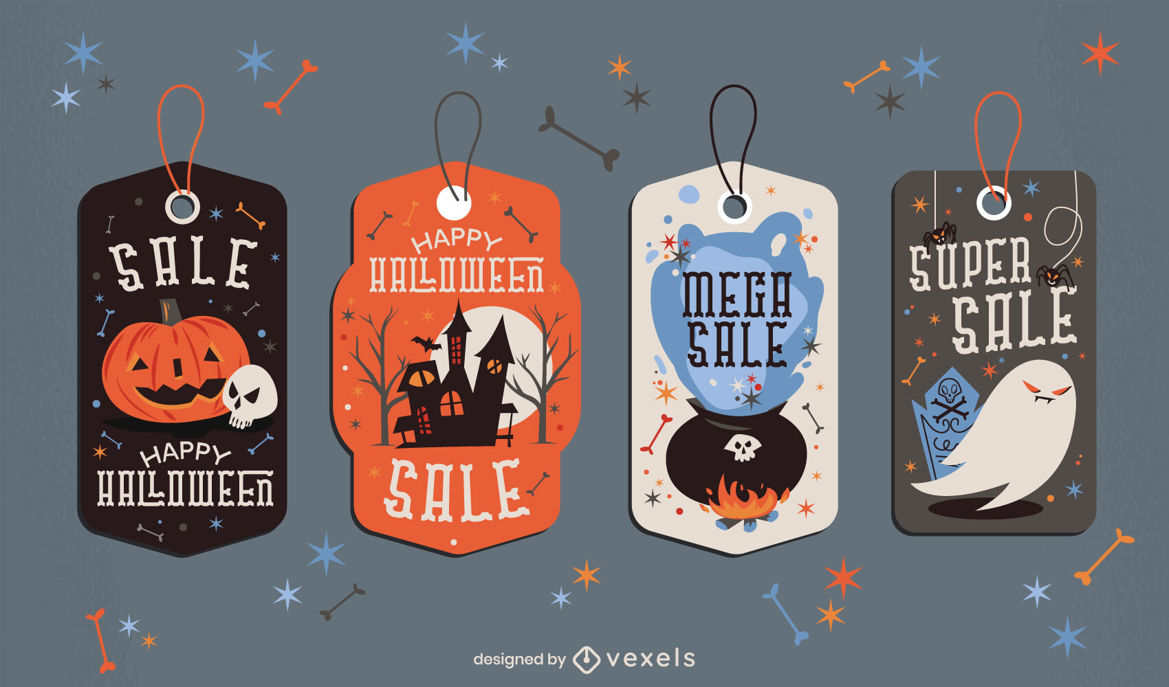 Conjunto de etiquetas de precio de venta de vacaciones de Halloween