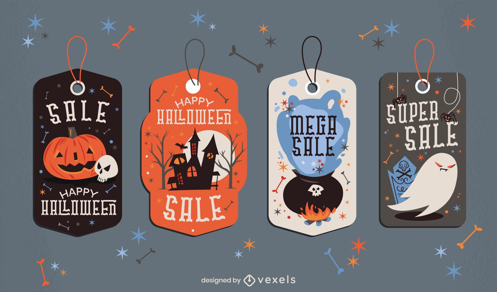 Halloween holiday sale price tag set