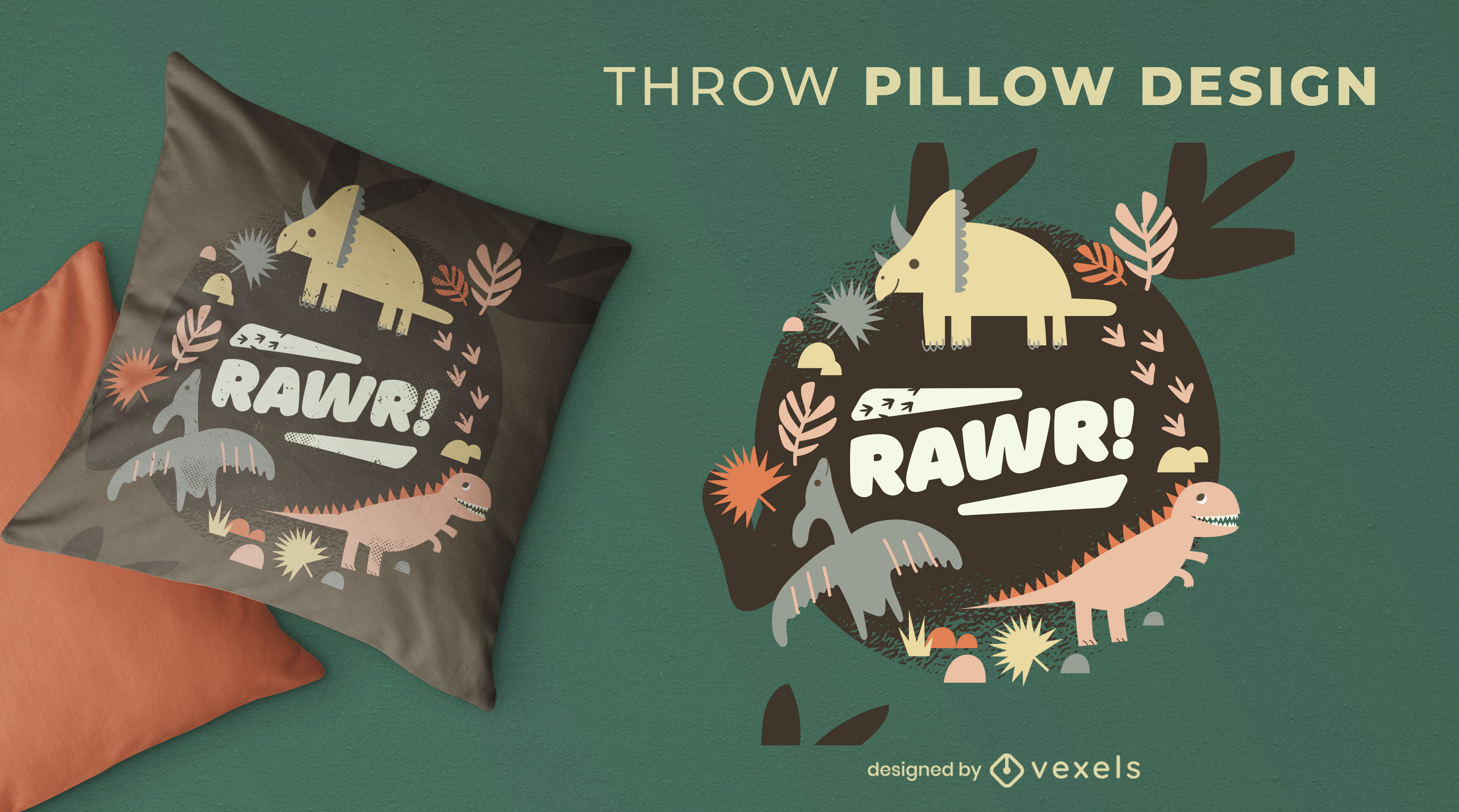Dinosaur animals cute throw pillow design