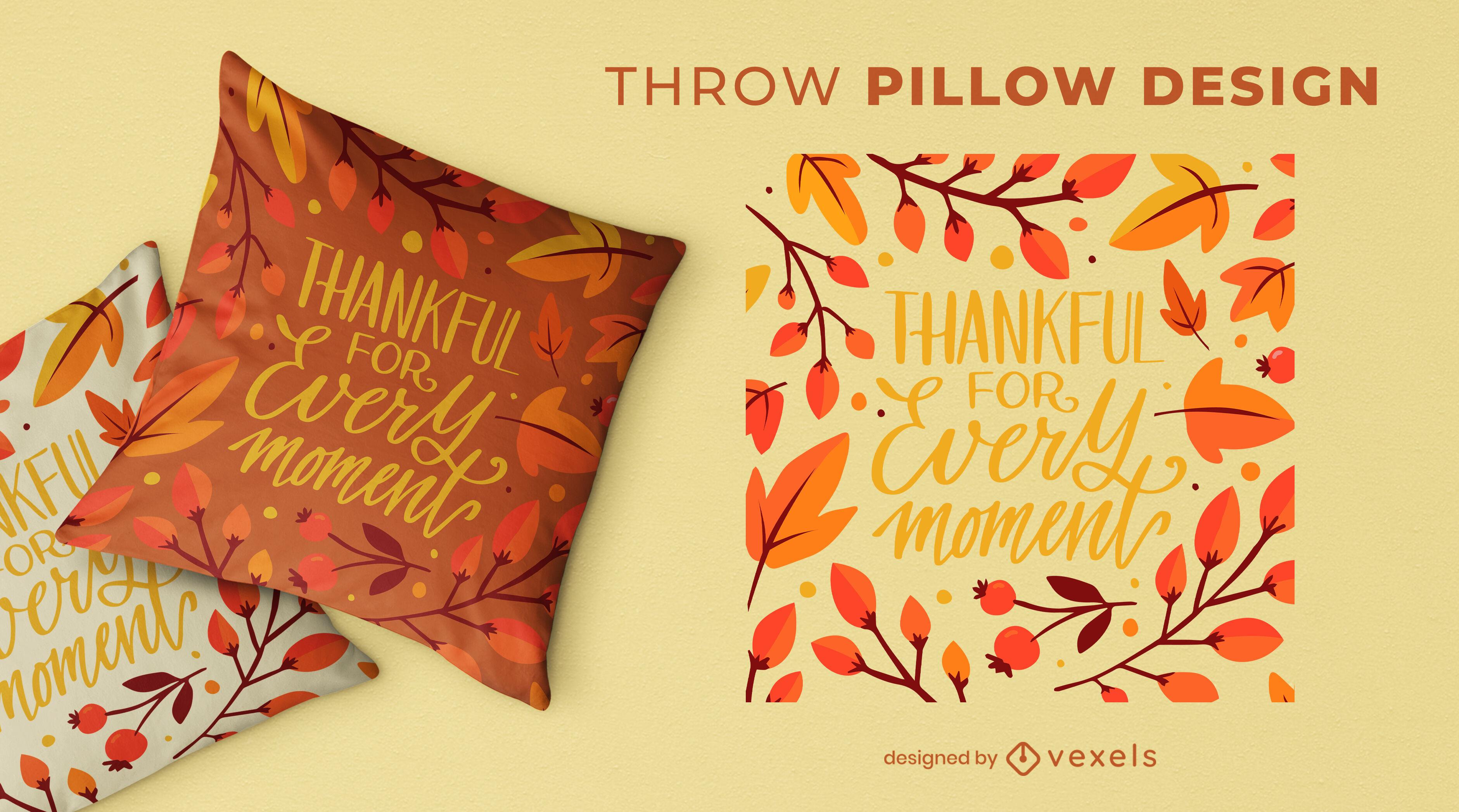 Diseño de almohada de tiro con letras de acción de gracias