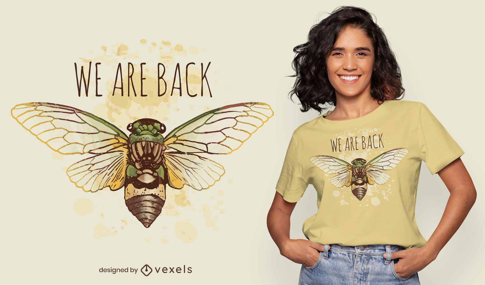 Cicada watercolor t-shirt design