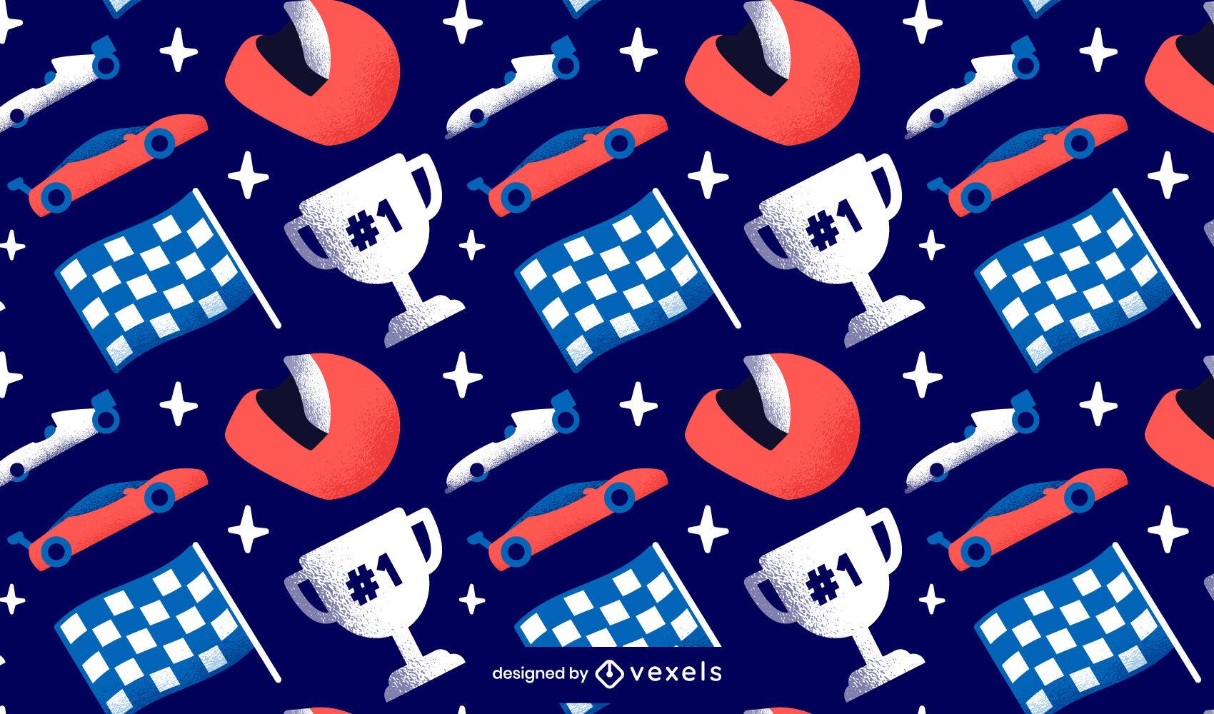 Diseño de patrón de competencia de carrera de autos.