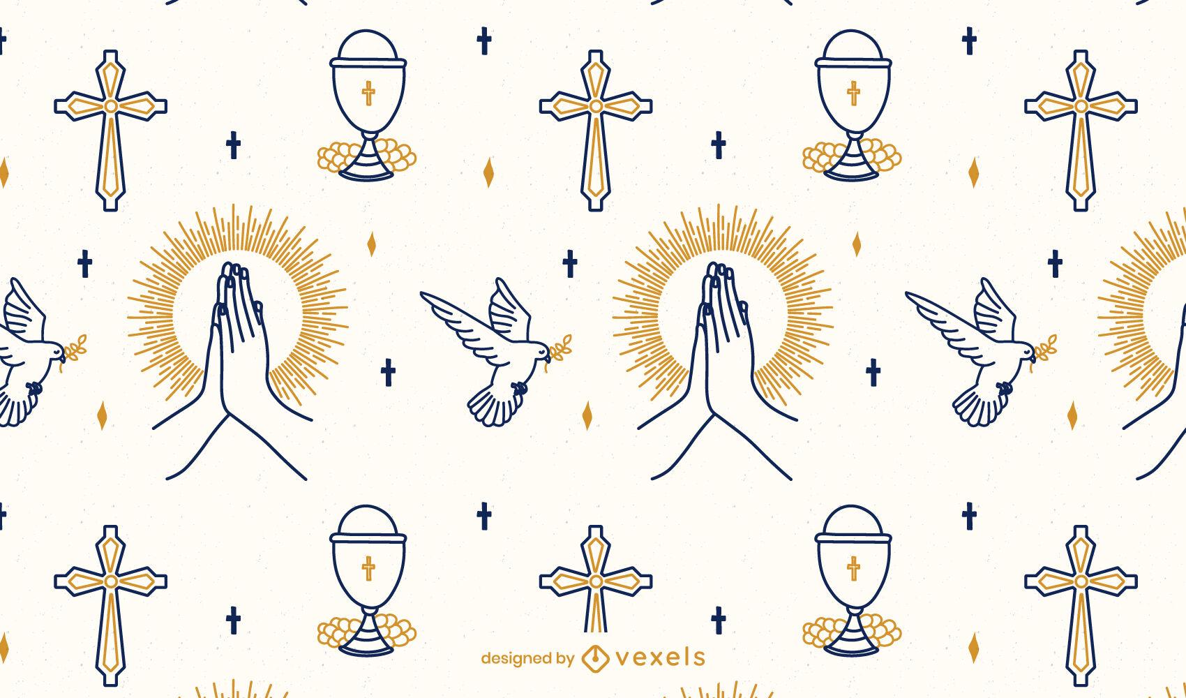 Diseño de patrón religioso de comunión cristiana.