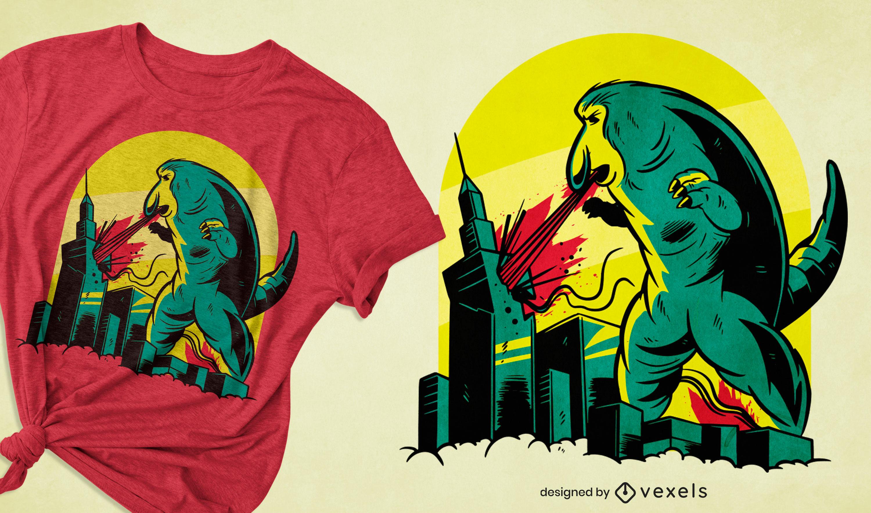 Diseño de camiseta Godzilla monkey destroy city