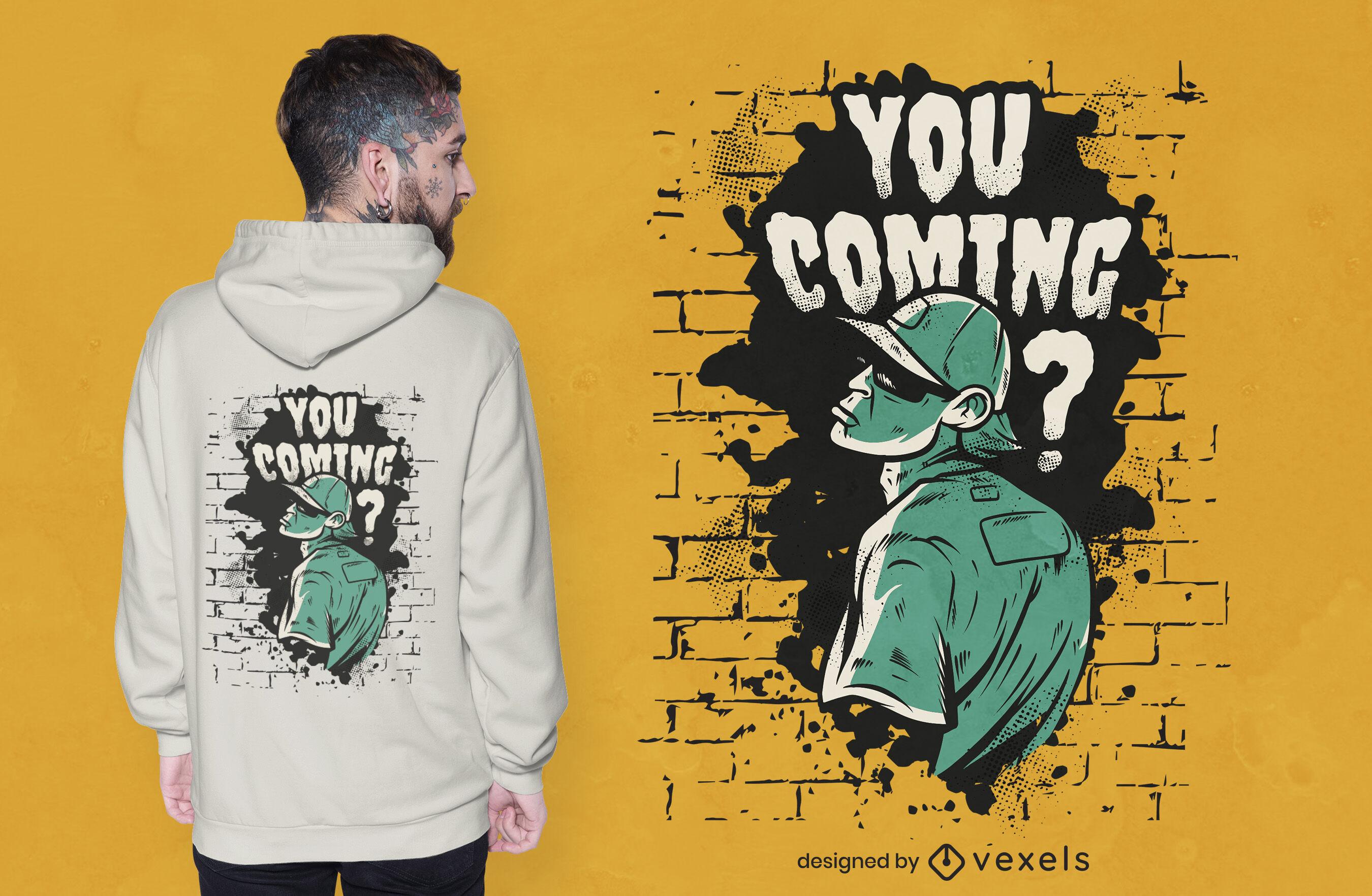 Diseño de camiseta de hombre que viene
