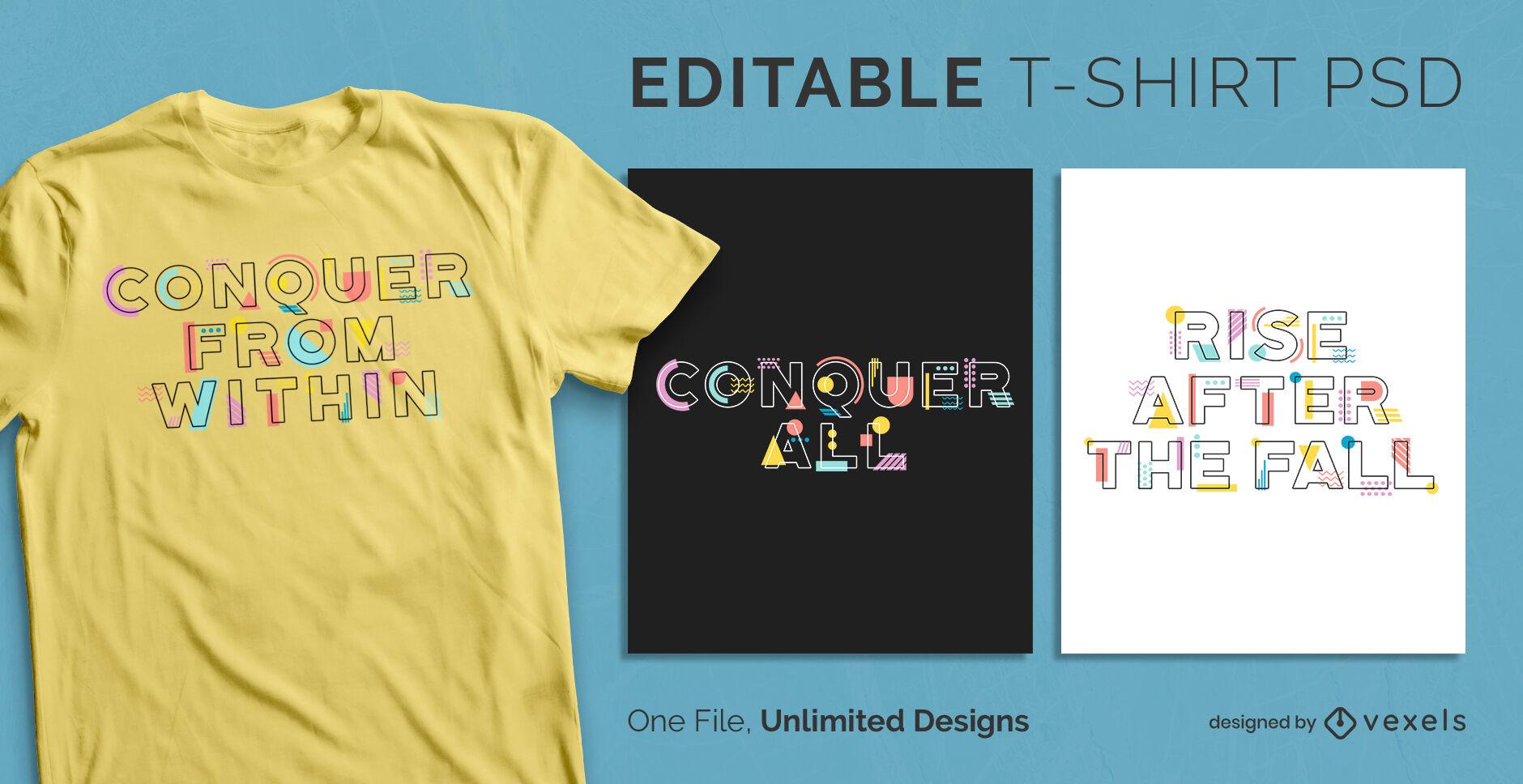 Plantilla de diseño de camiseta psd escalable de texto de formas abstractas