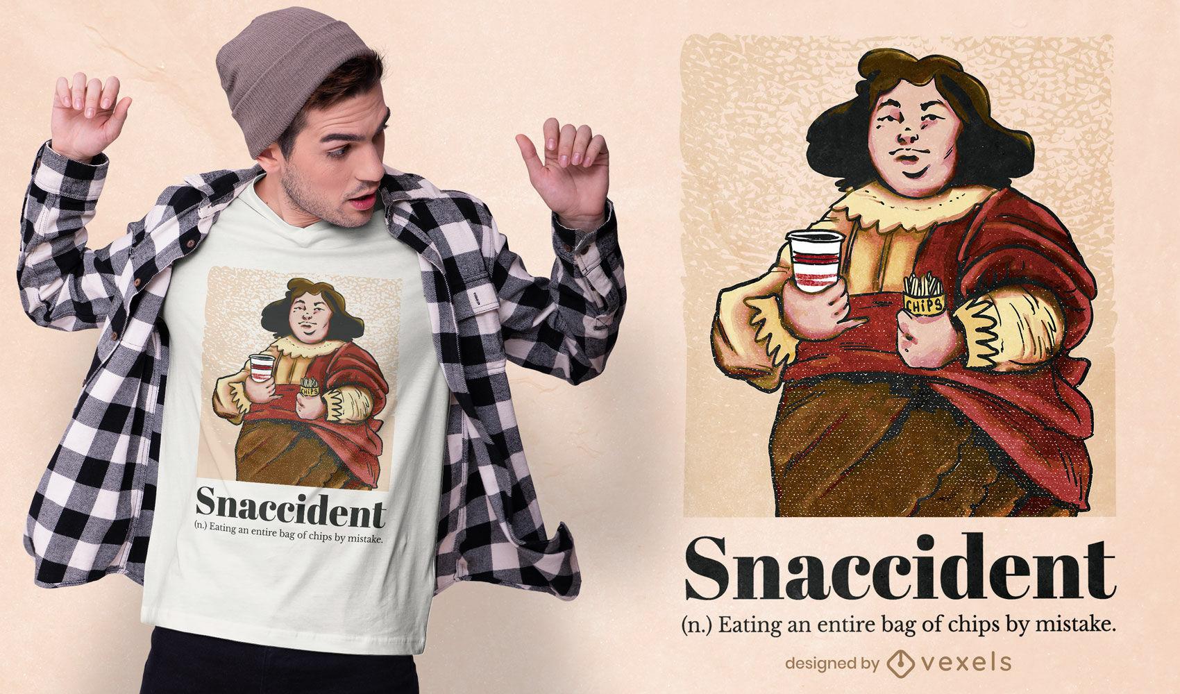 Snaccident sustantivo pintura psd diseño de camiseta