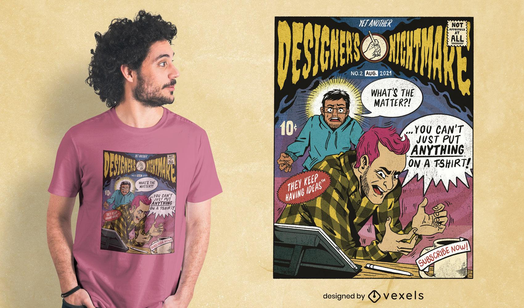 Diseñadores pesadilla comic psd diseño de camiseta