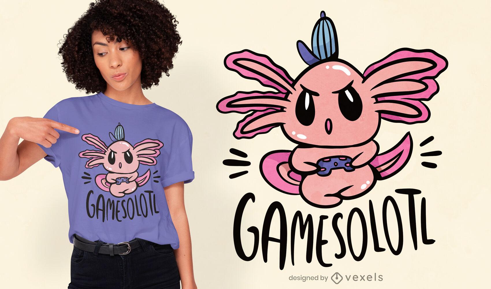 Diseño de camiseta gamer axolotl