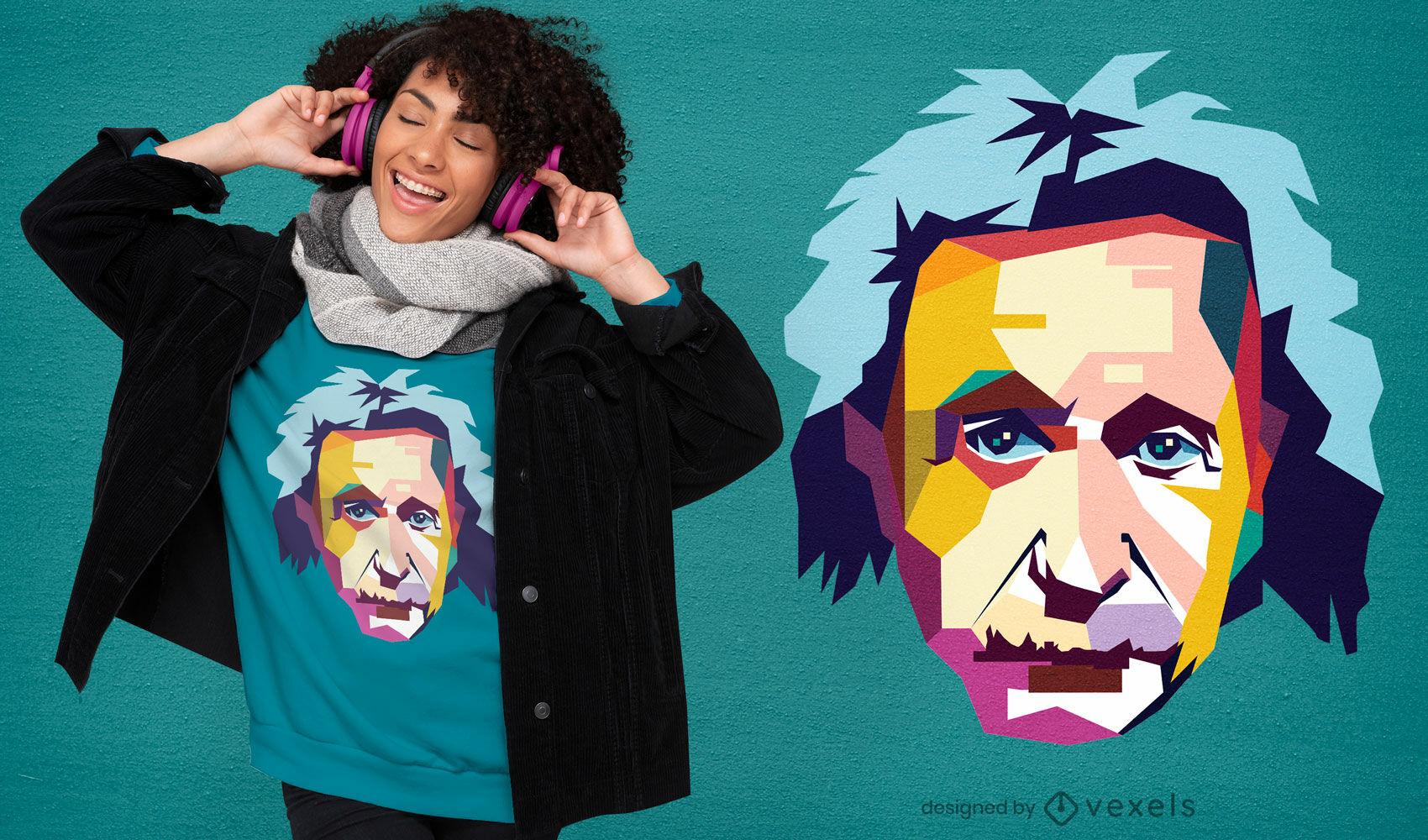 Design de camiseta semi-plana Einstein