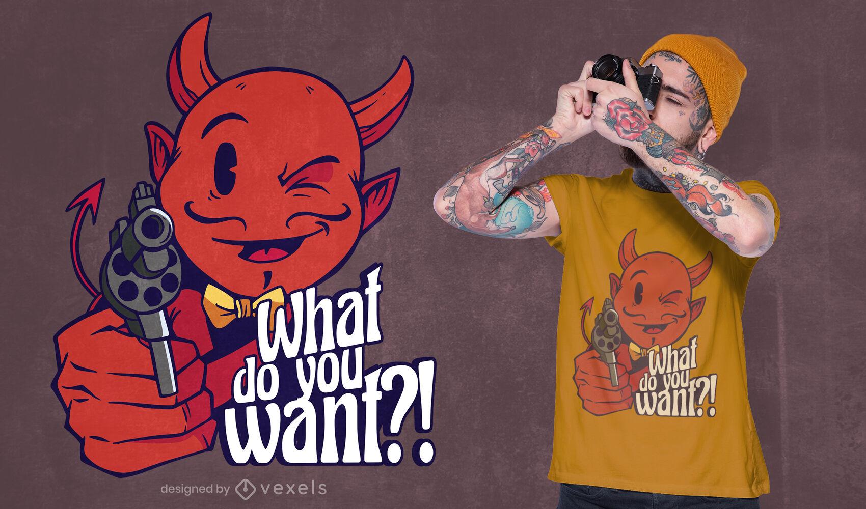 Satanás con diseño de camiseta de pistola.