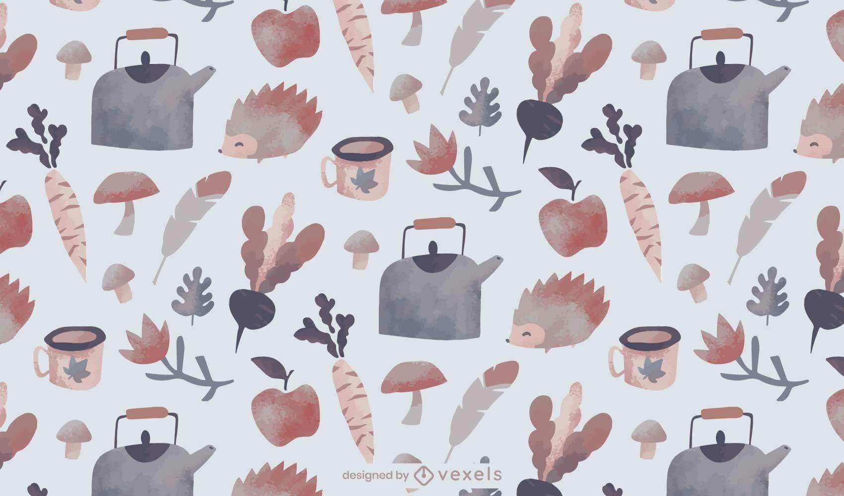 Diseño de patrón de acuarela de invierno acogedor