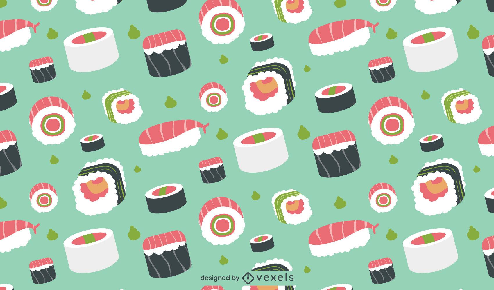 Design de padrão de peças de sushi comida japonesa