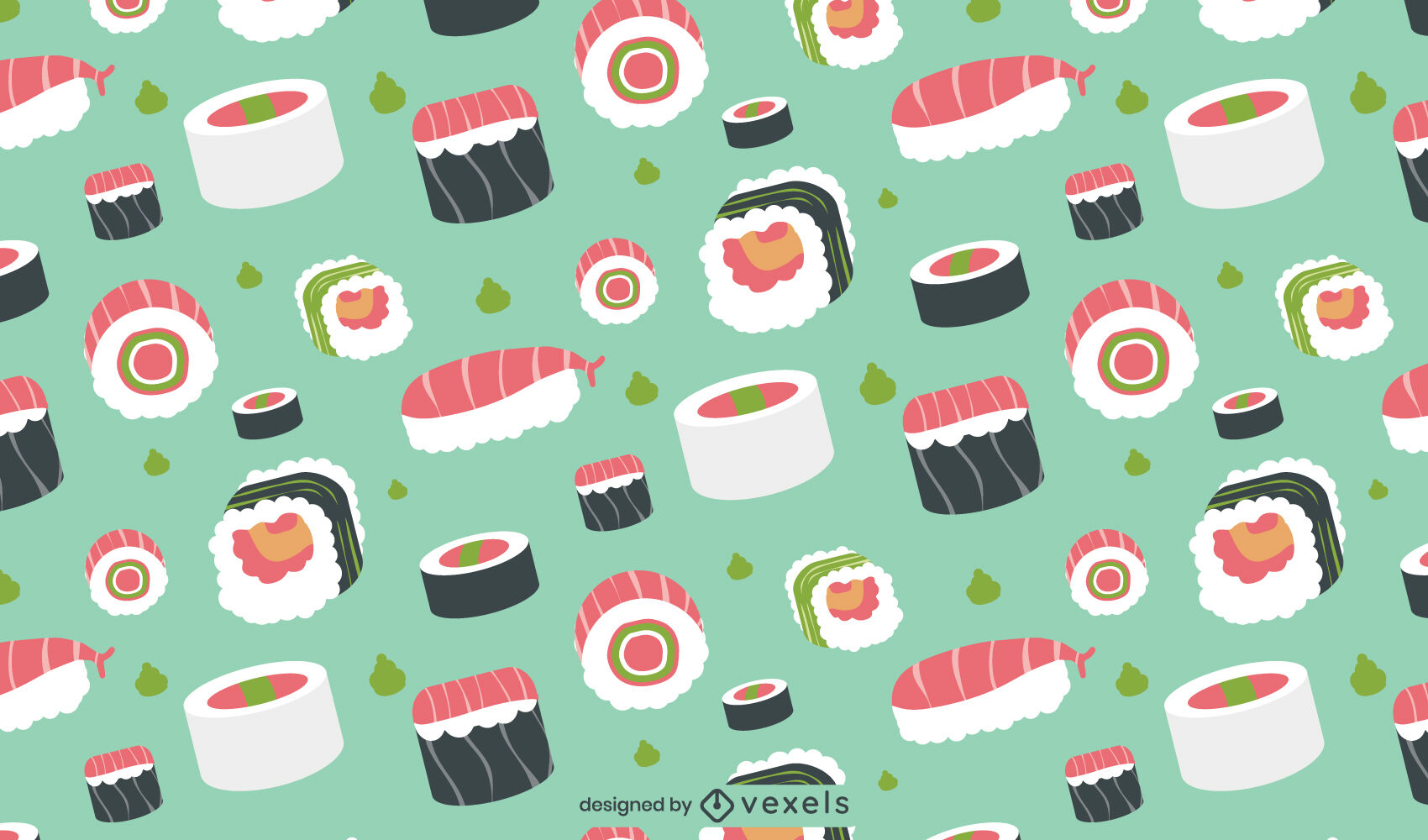 Sushi pieces japanese food pattern design