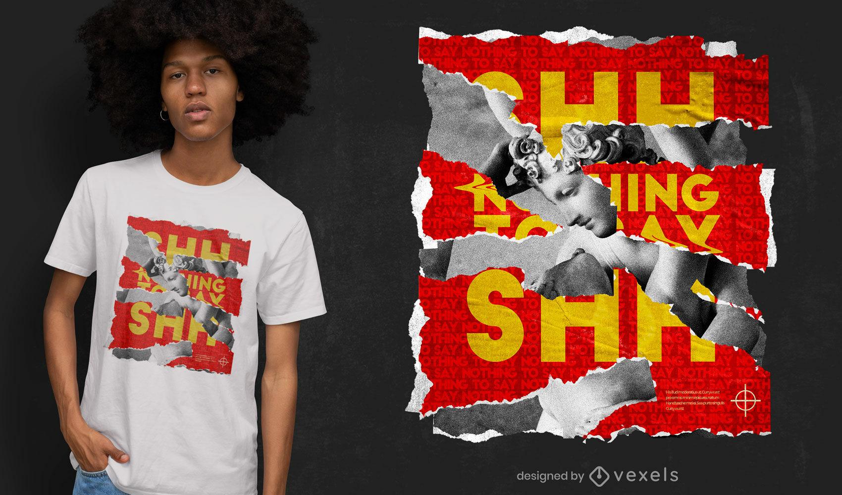 Design de camiseta em papel rasgado e estátua psd