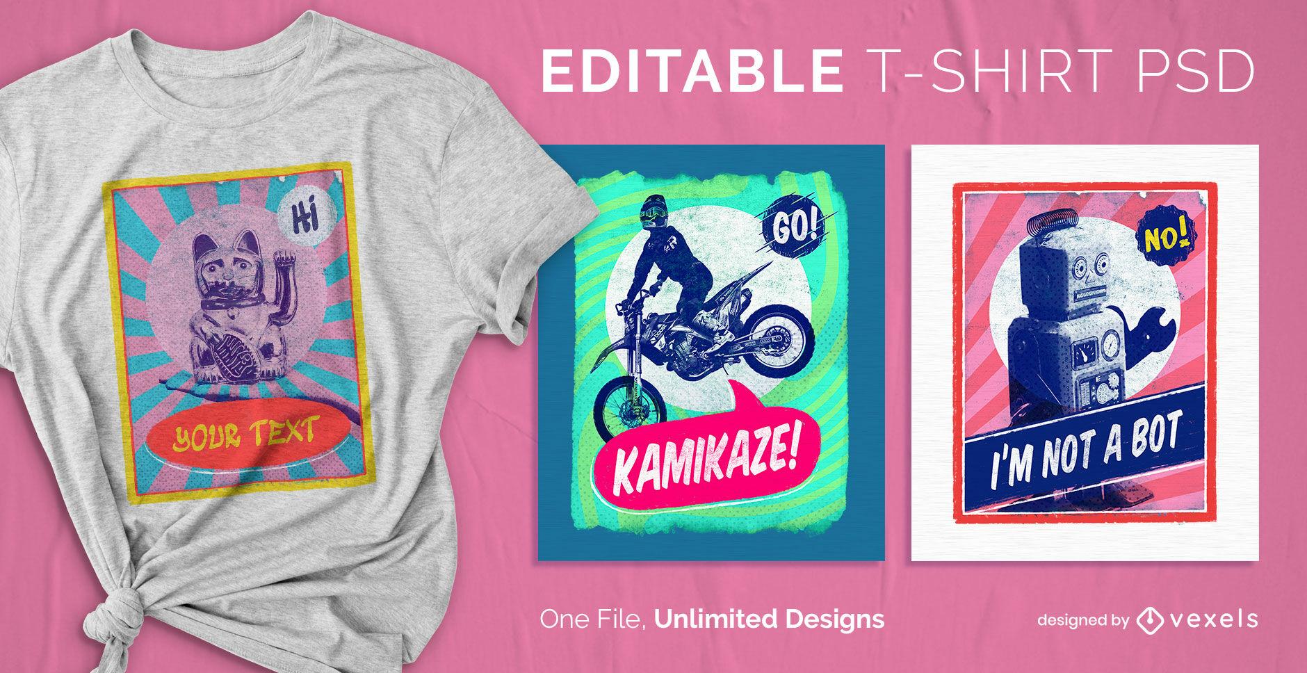 Plantilla de camiseta psd escalable de p?ster pop art