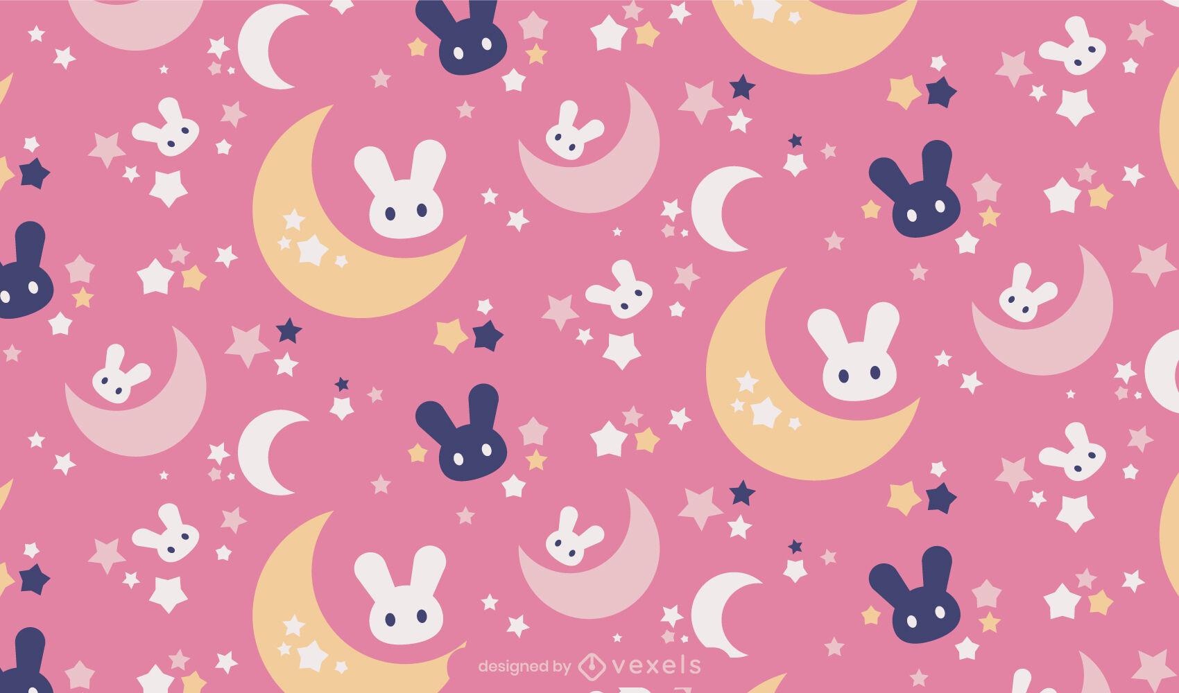 Desenho de padrão bonito de coelhinhos do espaço