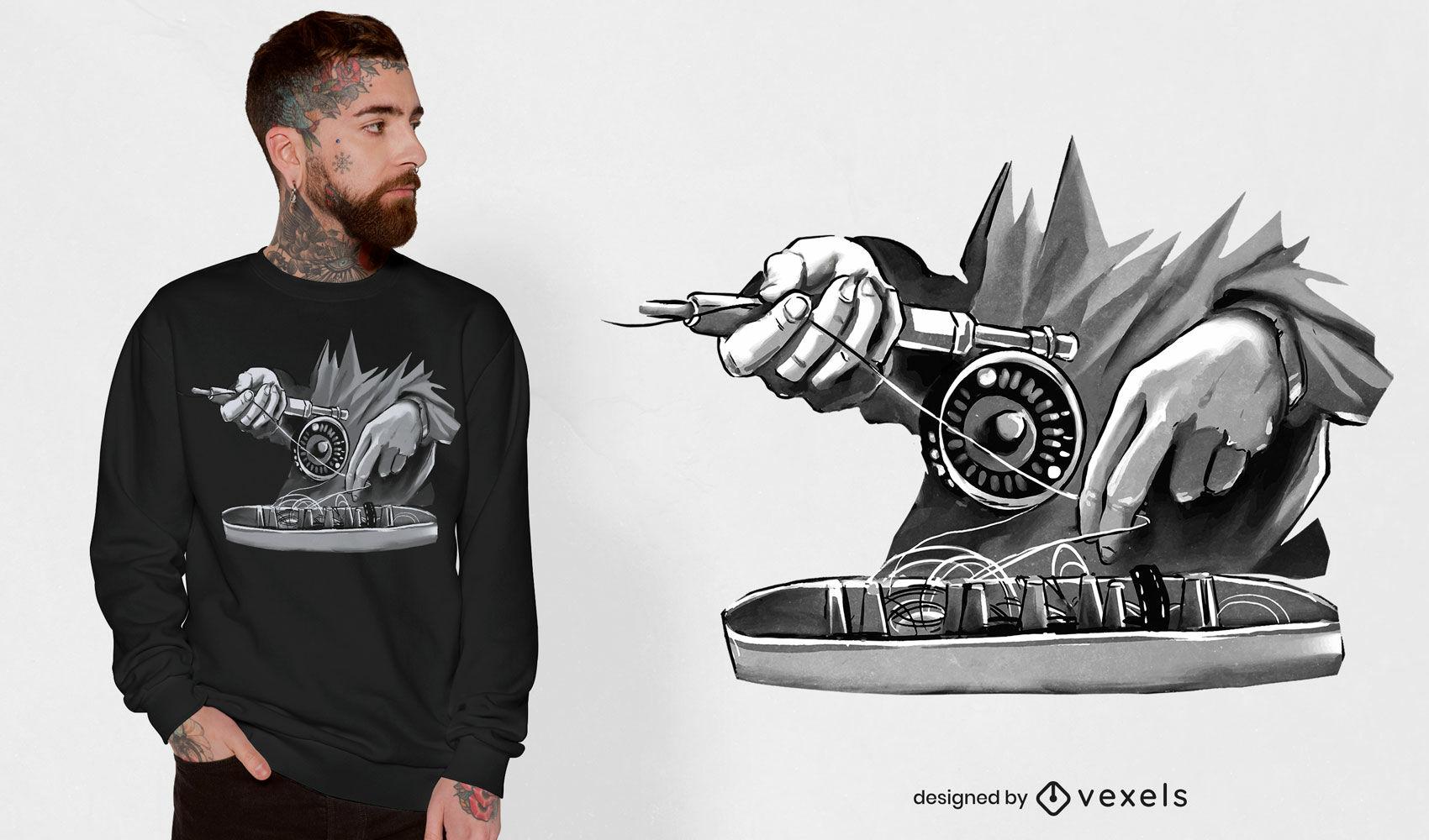 Vara de pesca com design de t-shirt psd monocromática com mãos