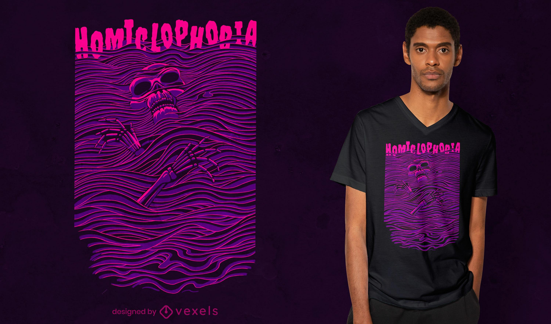 Dise?o de camiseta psd de homiclophobia line art
