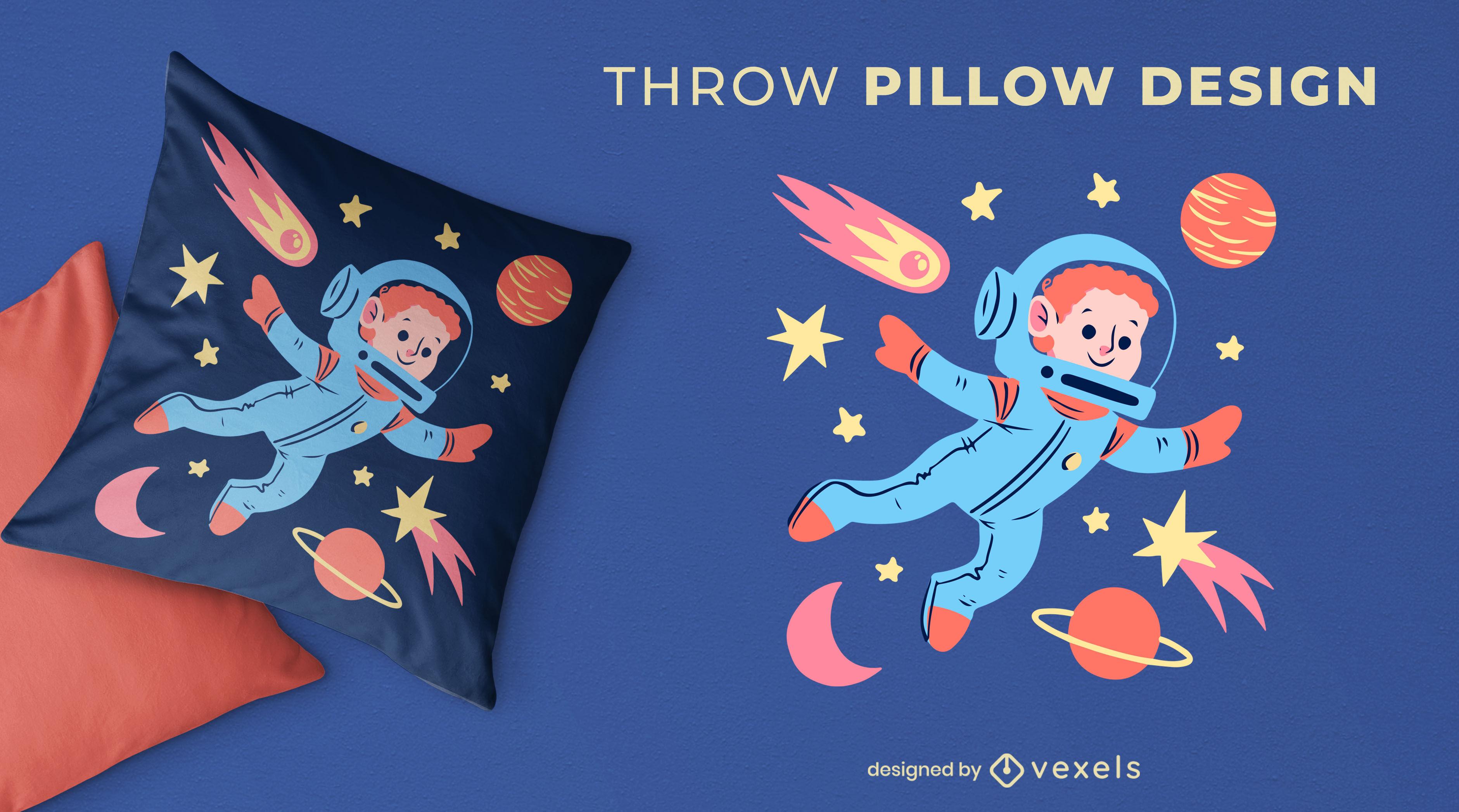 Child astronaut space throw pillow design