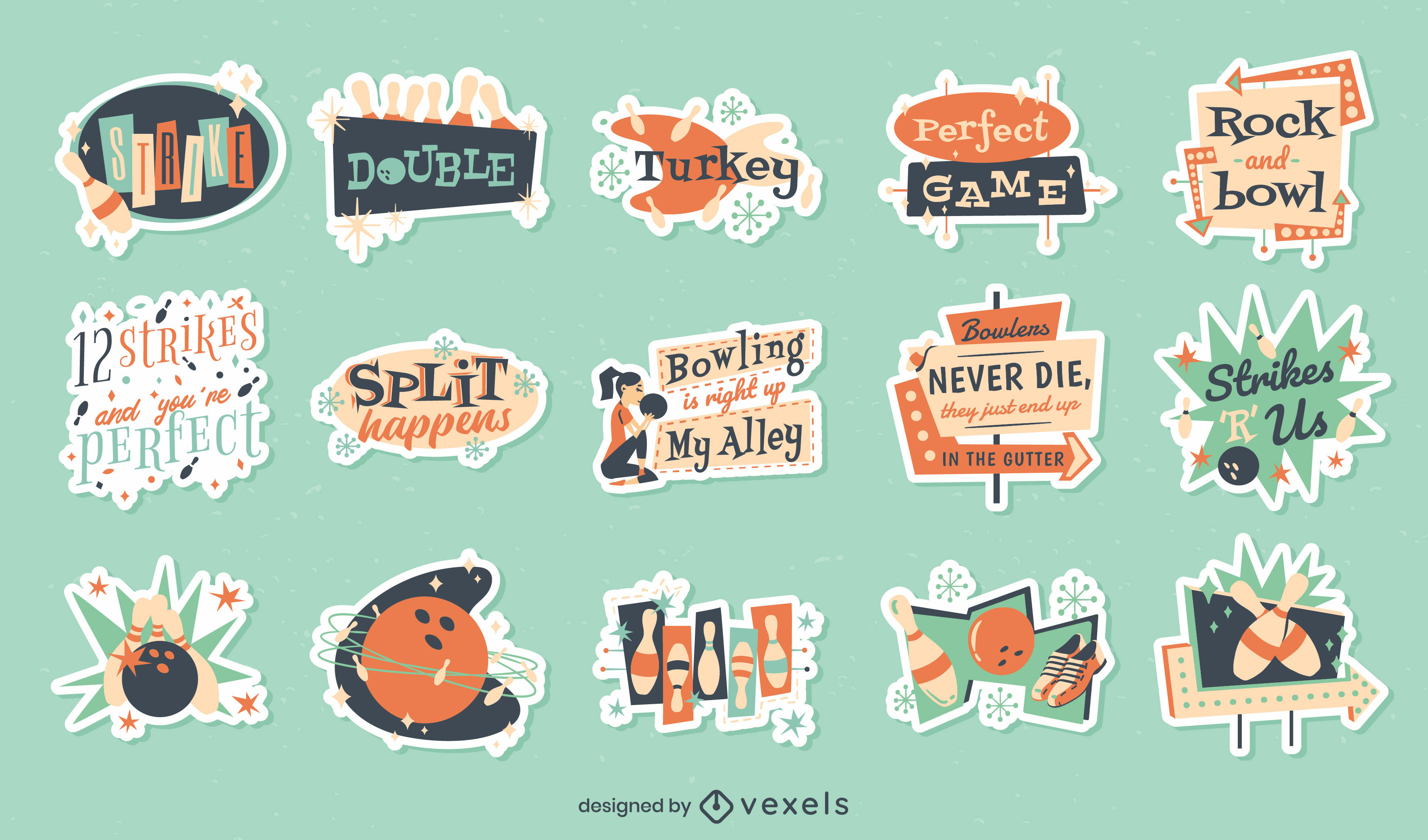 Bowling retro set of stickers