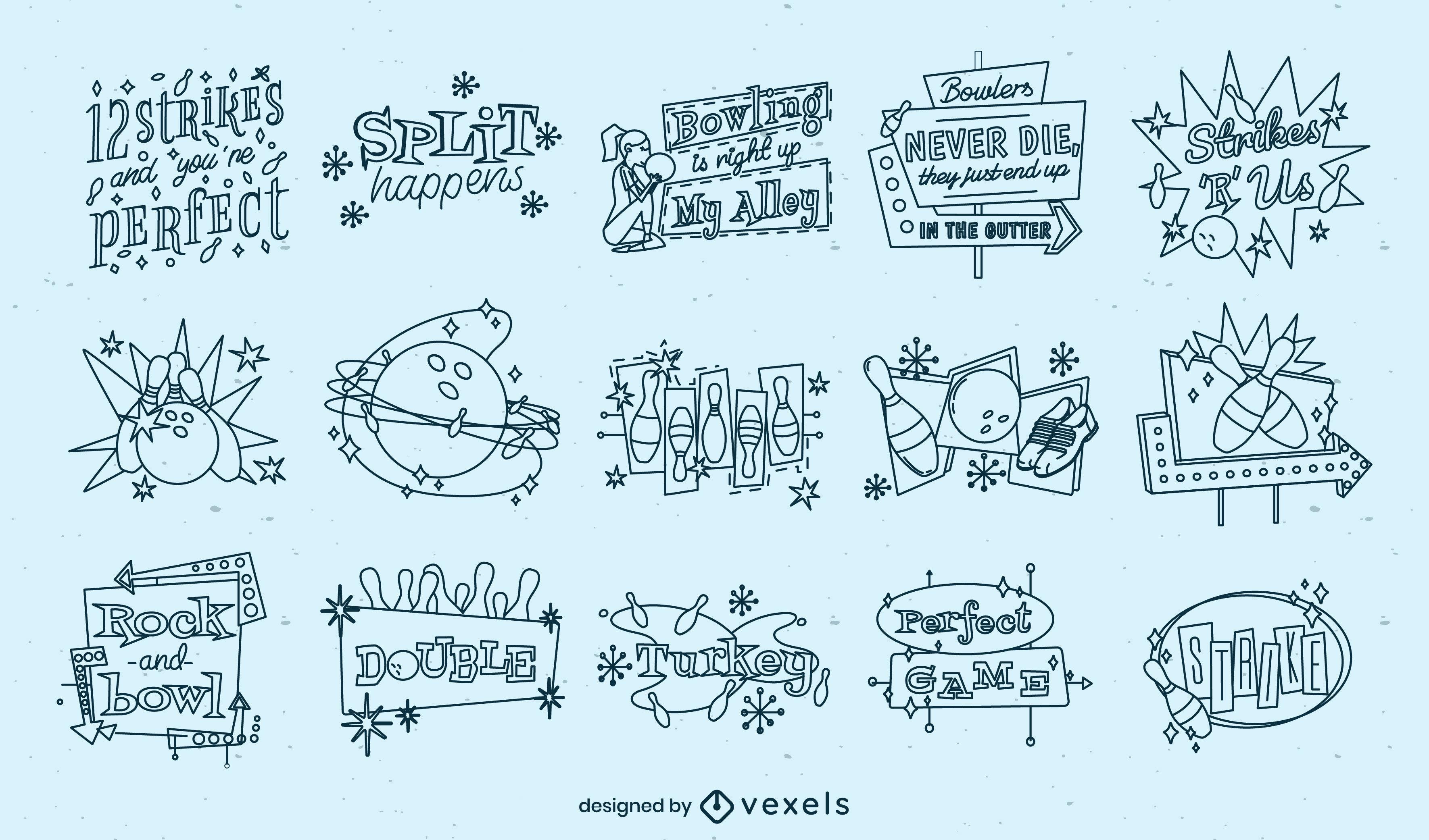 Conjunto de emblemas de boliche retrô