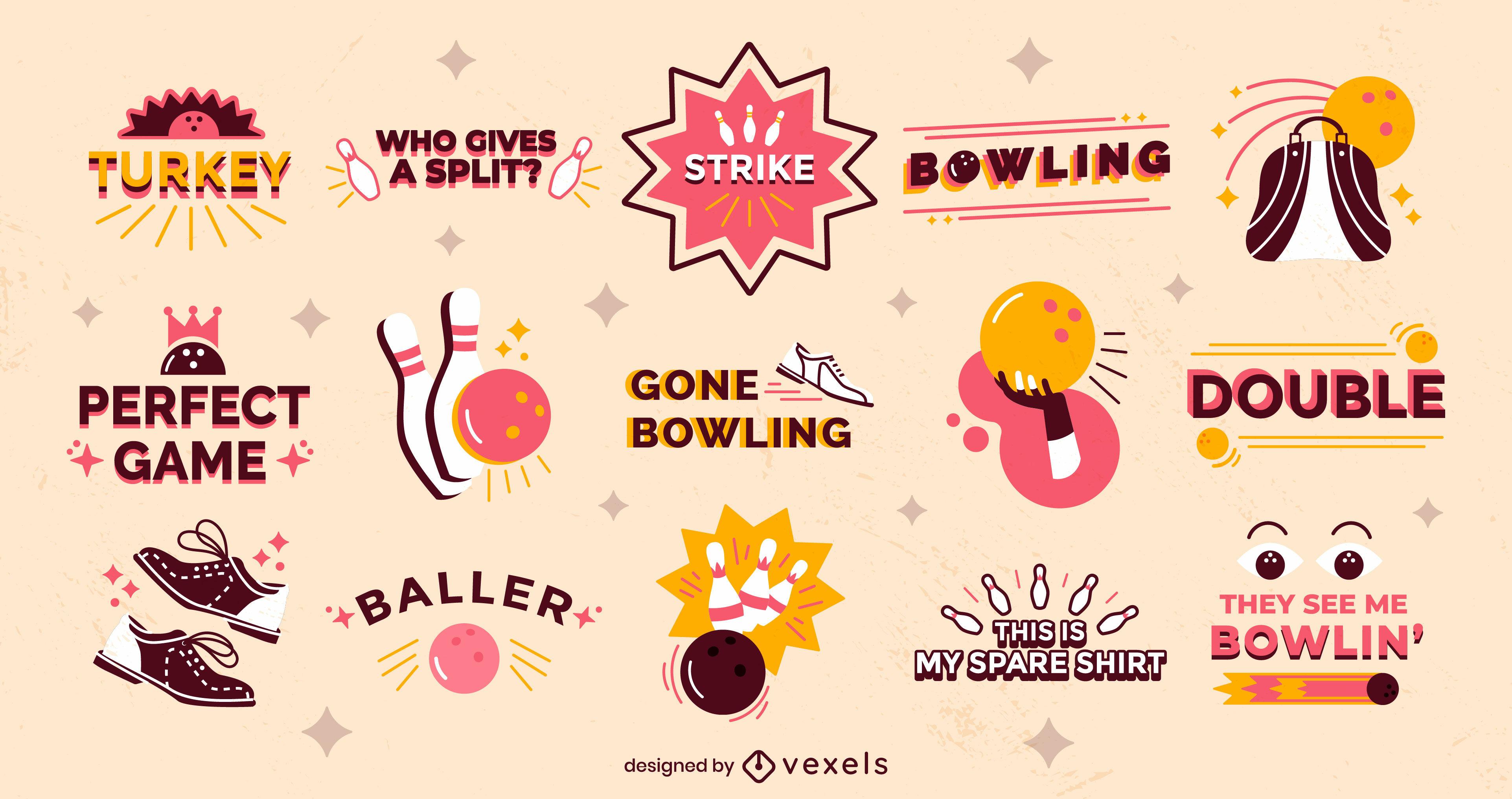 Bowling halbflach Abzeichen und Zitate
