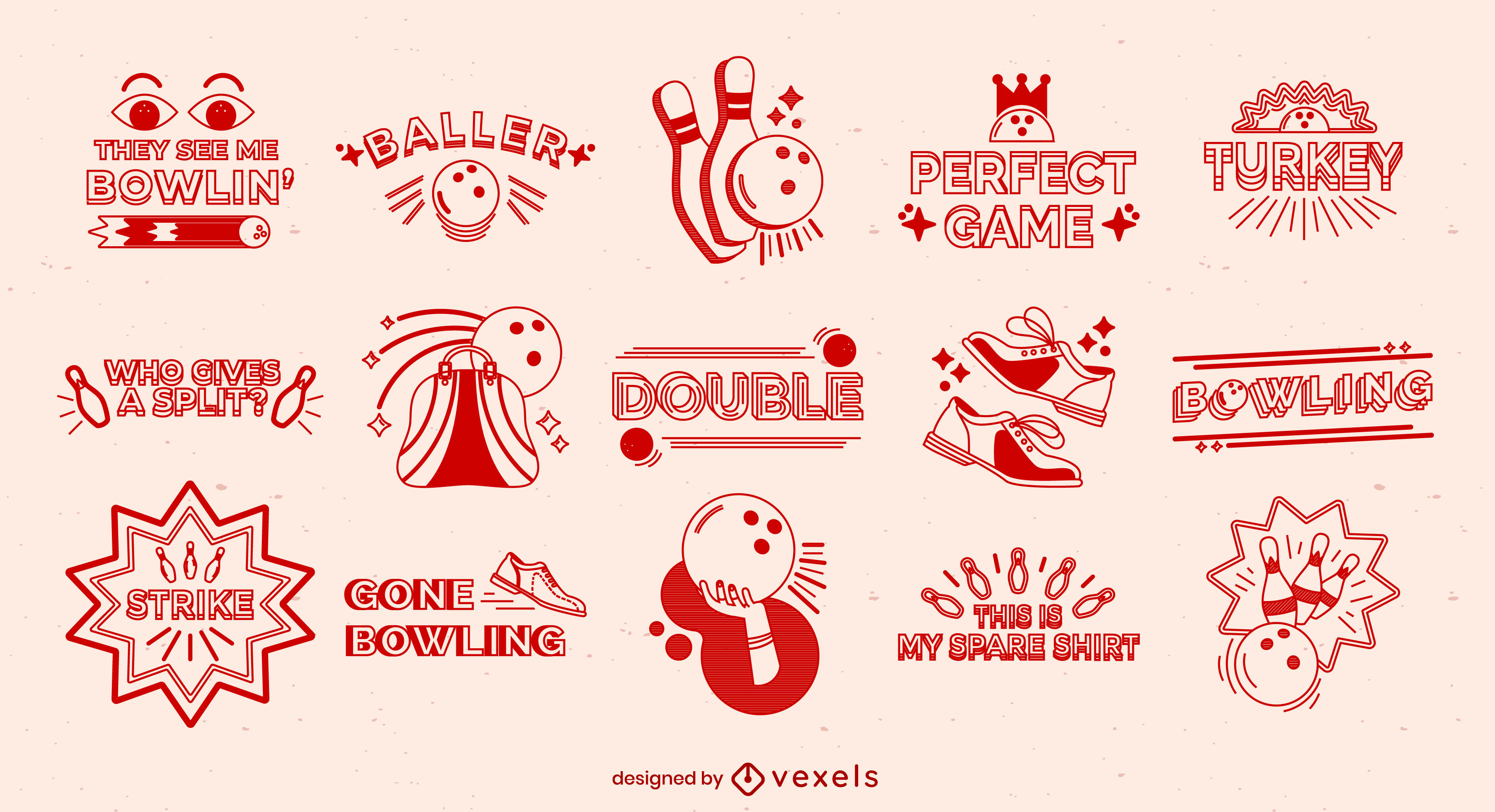 Bowling filled stroke badges and quotes