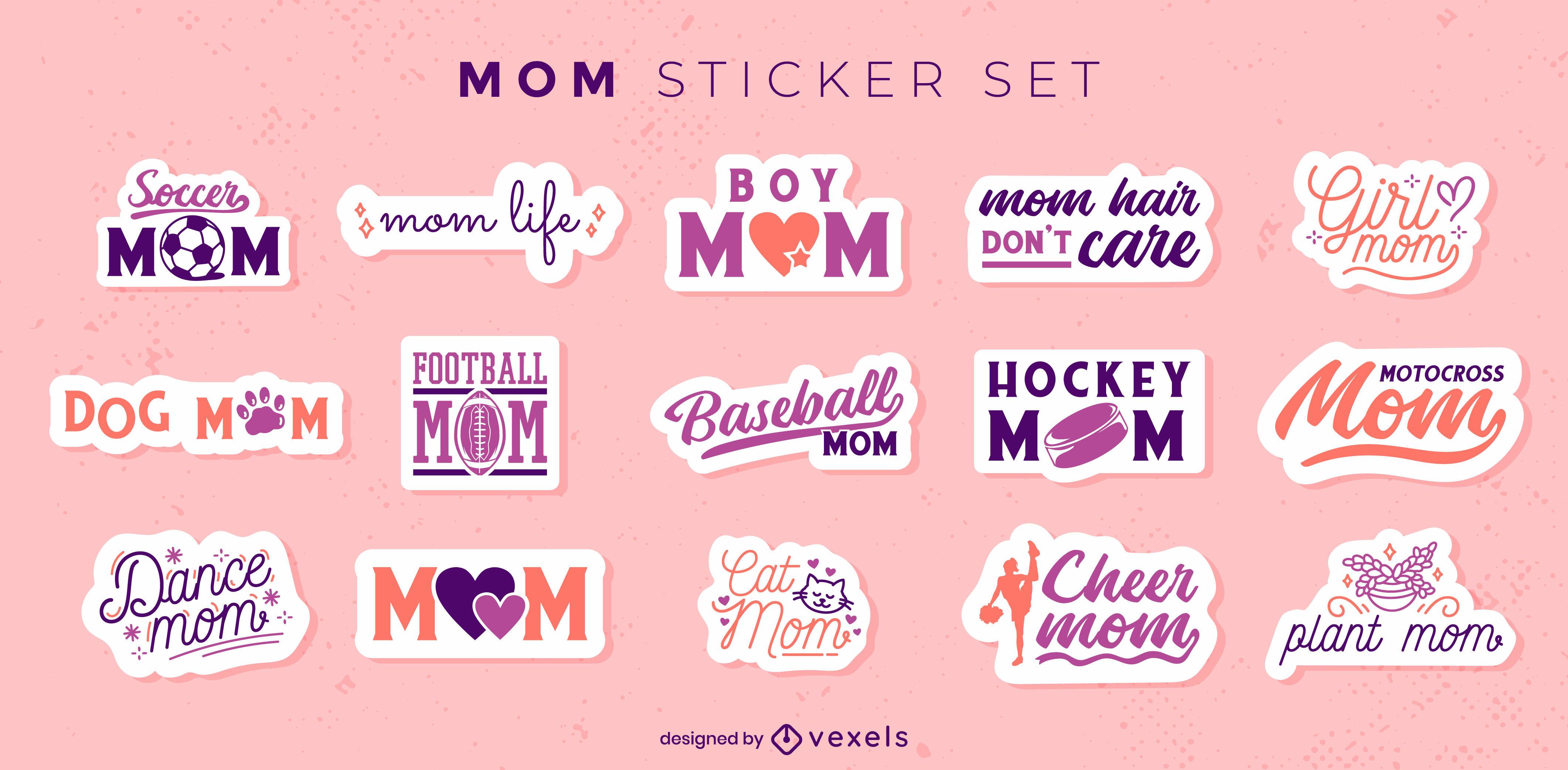 Conjunto de adesivos de letras para mães