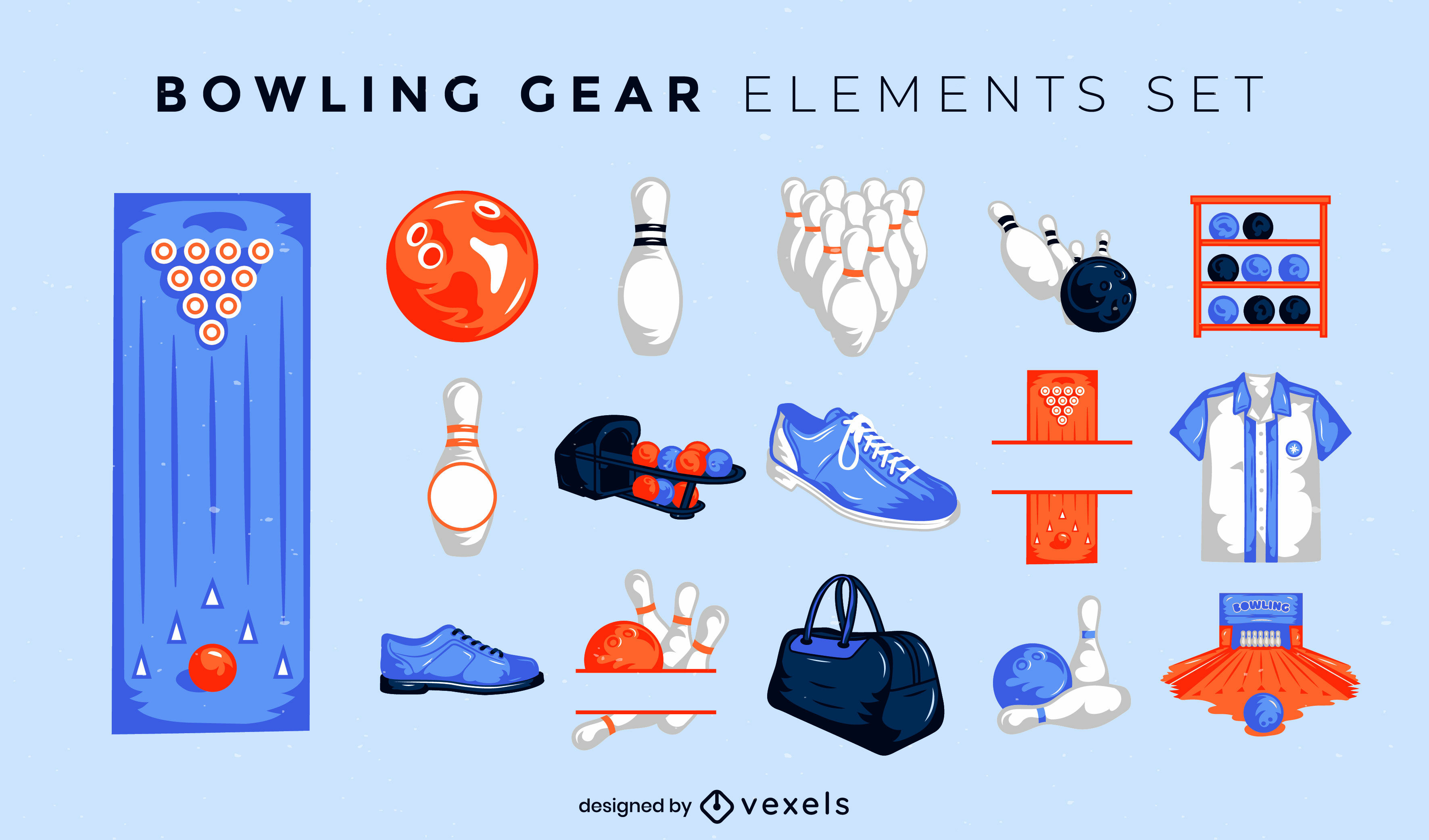 Bowling gear illustrated elements set