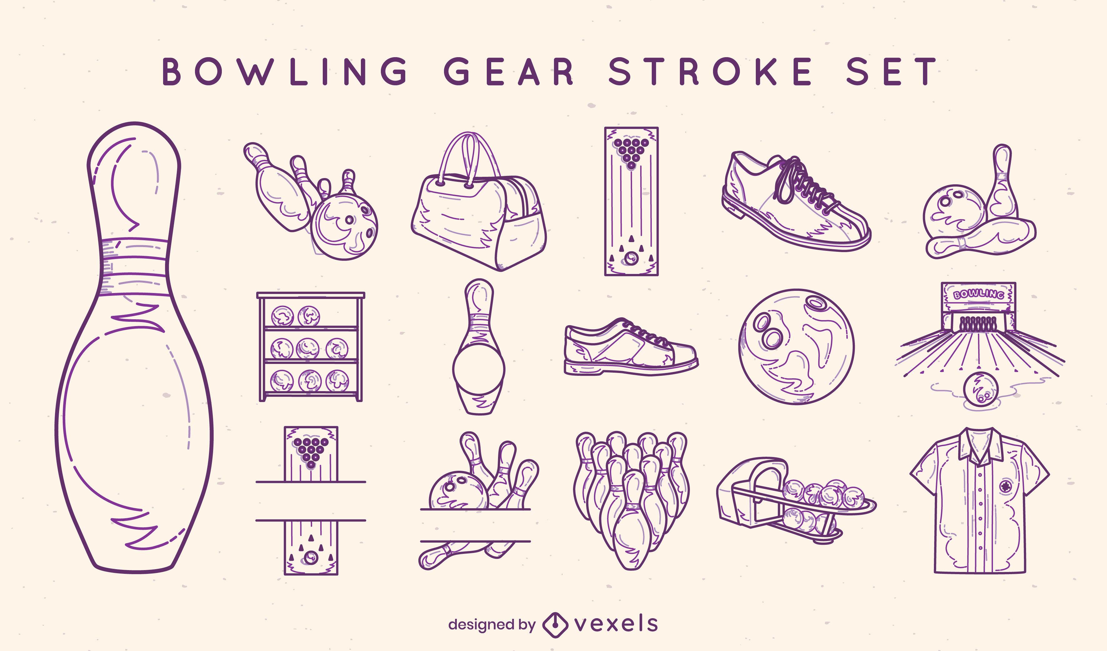 Bowling gear stroke elements set