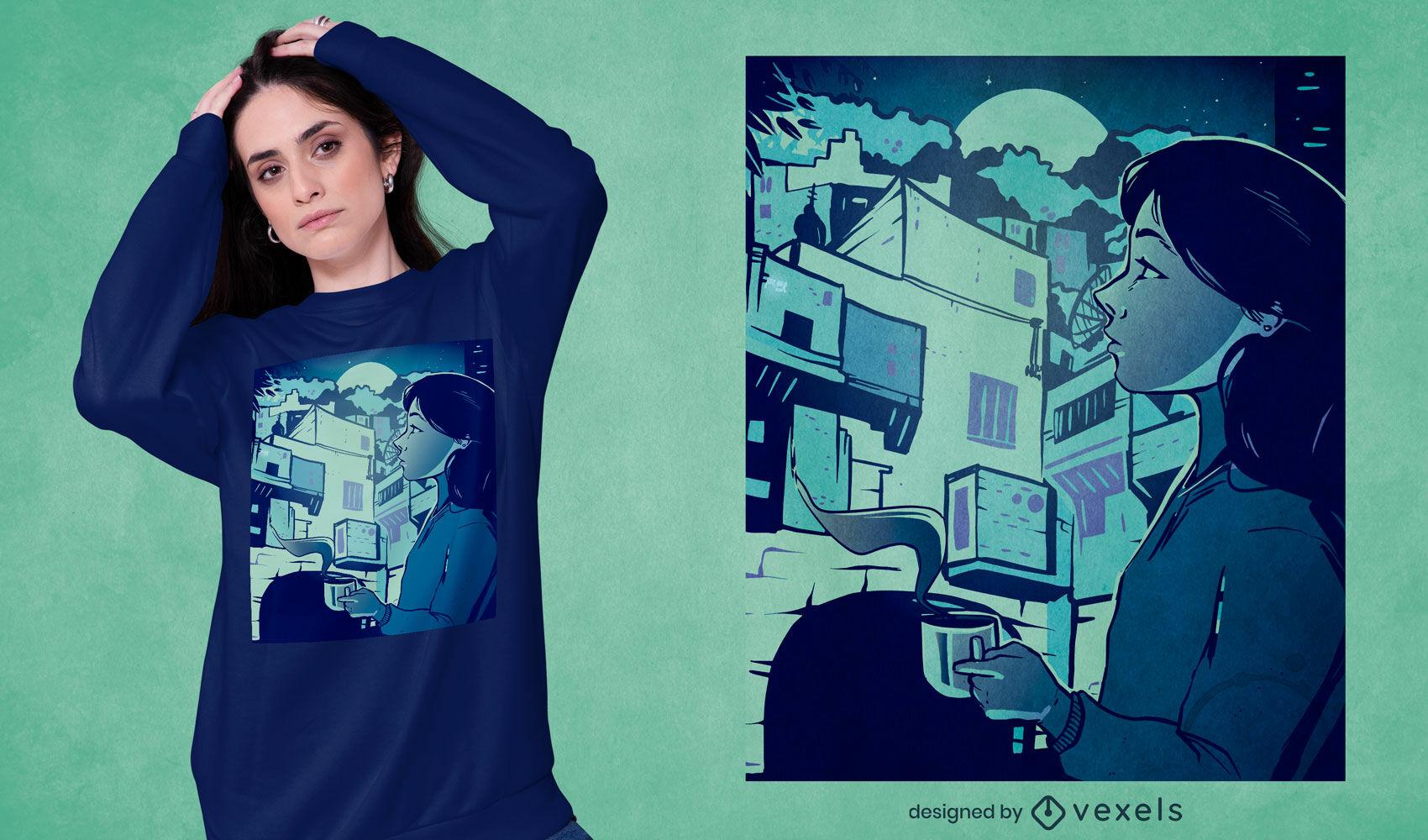 Design de t-shirt de edifícios para raparigas à noite na cidade