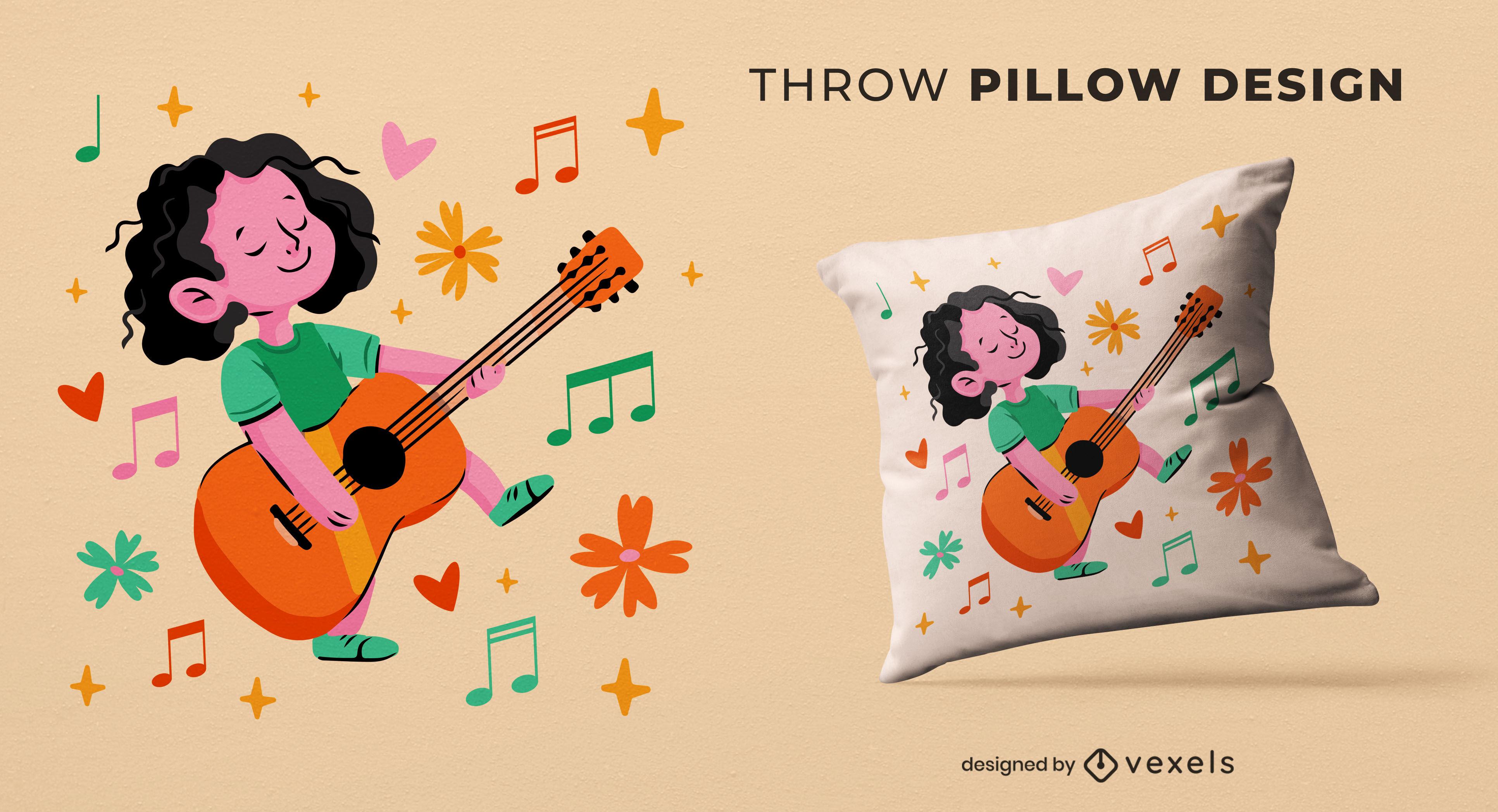 Girl with guitar throw pillow design