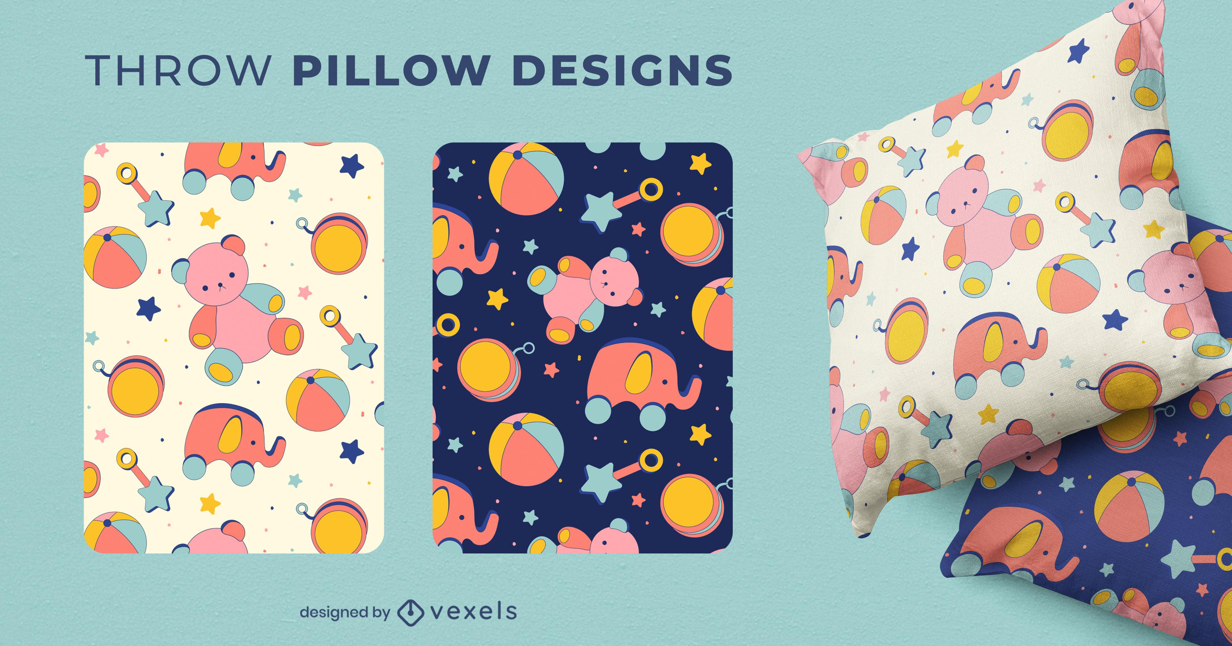 Diseño de almohada de tiro con patrón de juguetes para niños