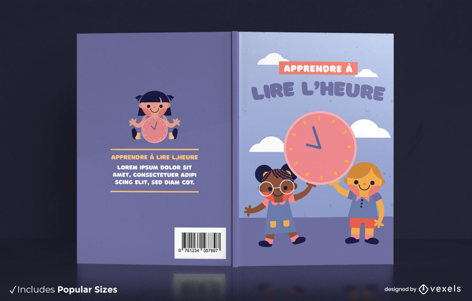 Time reading for children book cover design