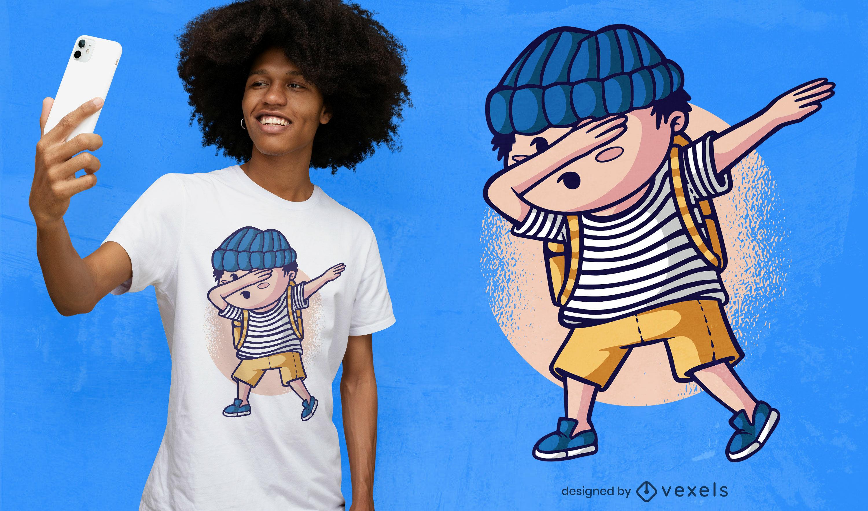 Cartoon-Kind, das T-Shirt-Design abtupft