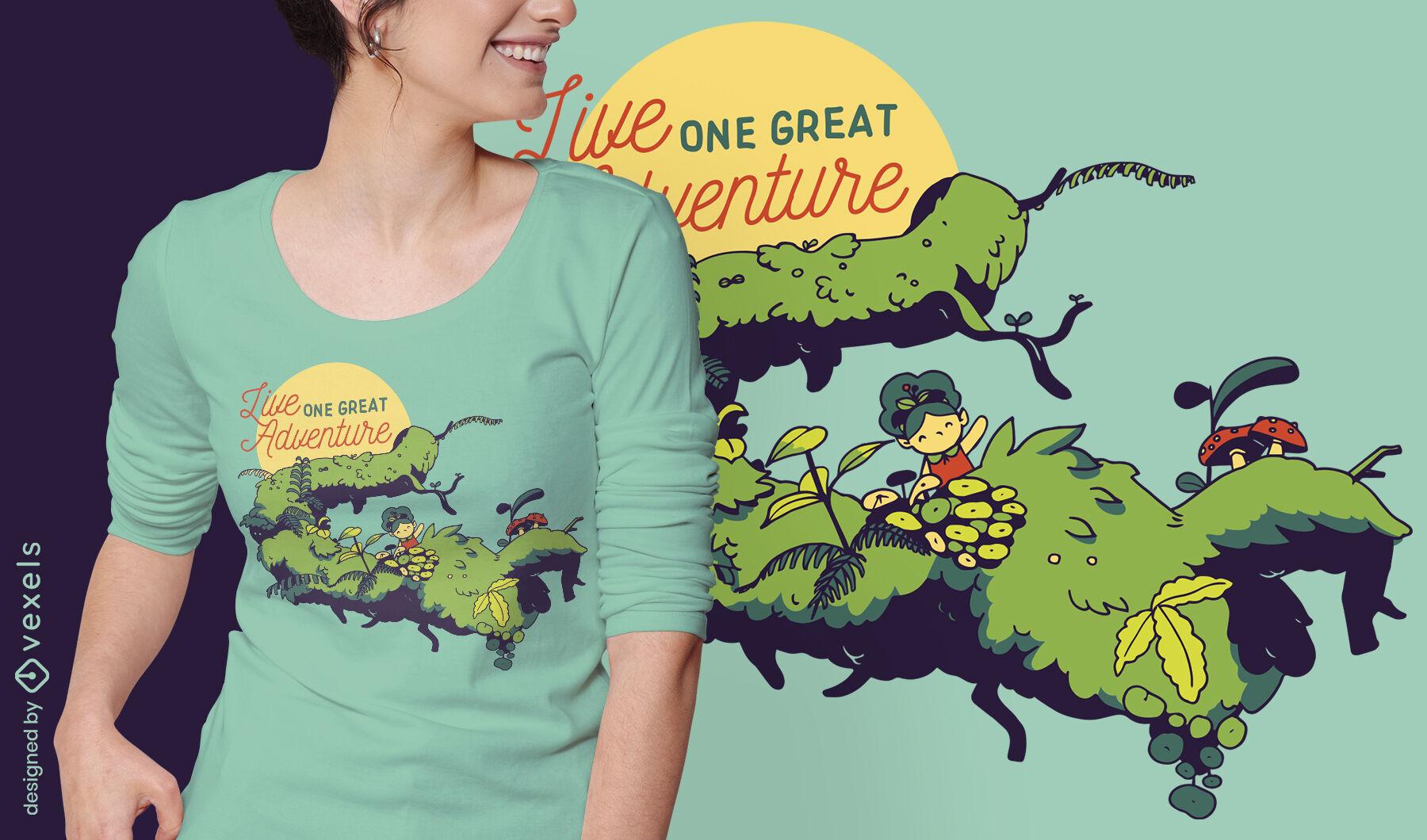 Tiny girl in branch adventure quote diseño de camiseta