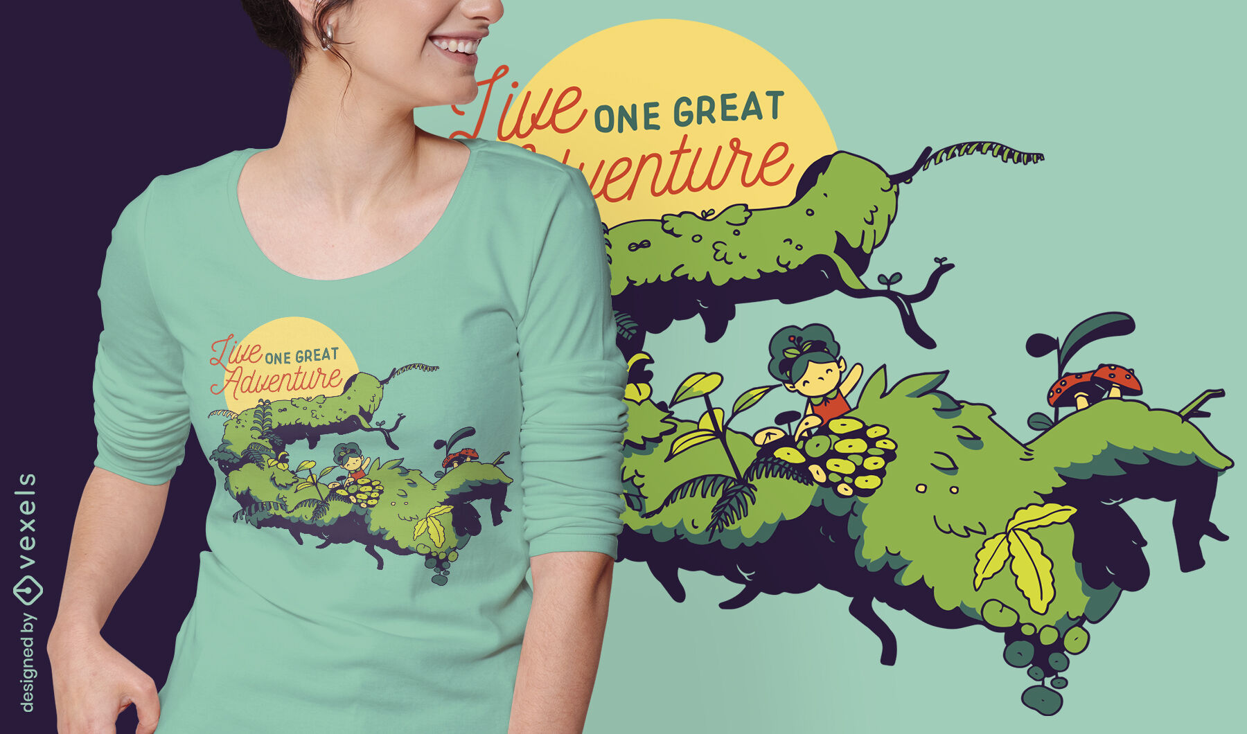 Tiny girl in branch adventure quote t-shirt design