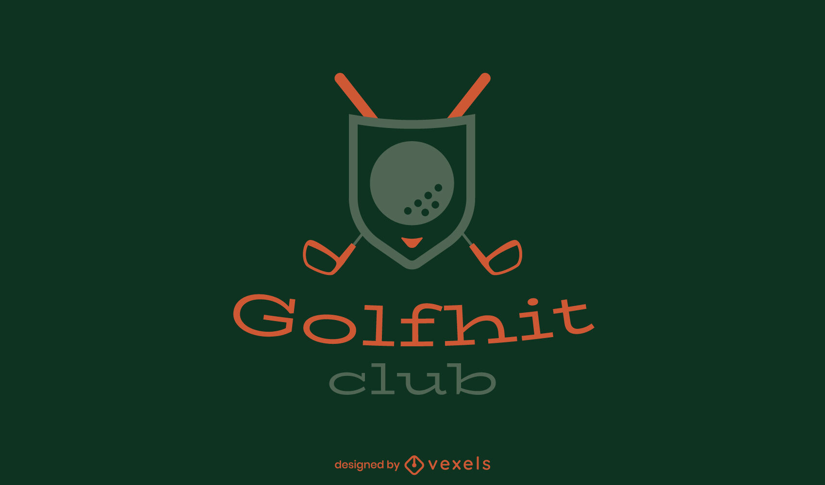 Modelo de logotipo do emblema de tacos de golfe