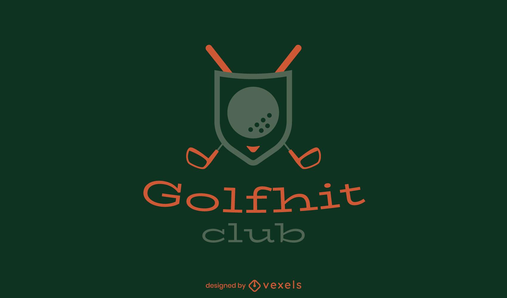 Plantilla de logotipo de trazo de emblema de palos de golf
