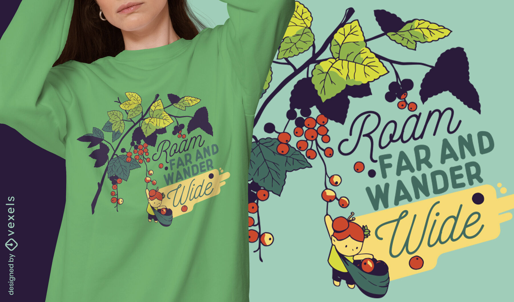 Tiny girl collecting berries in tree t-shirt design