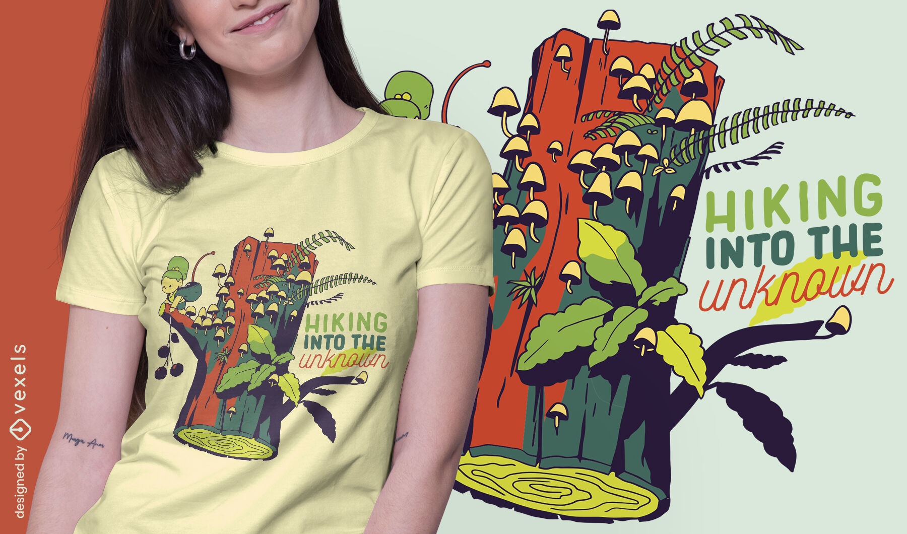 Tiny girl in log with hiking quote t-shirt design