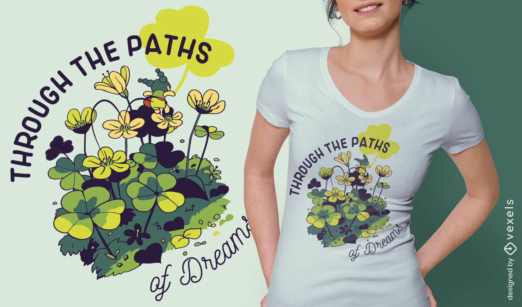 Pequeña niña en flores sueños cita diseño de camiseta