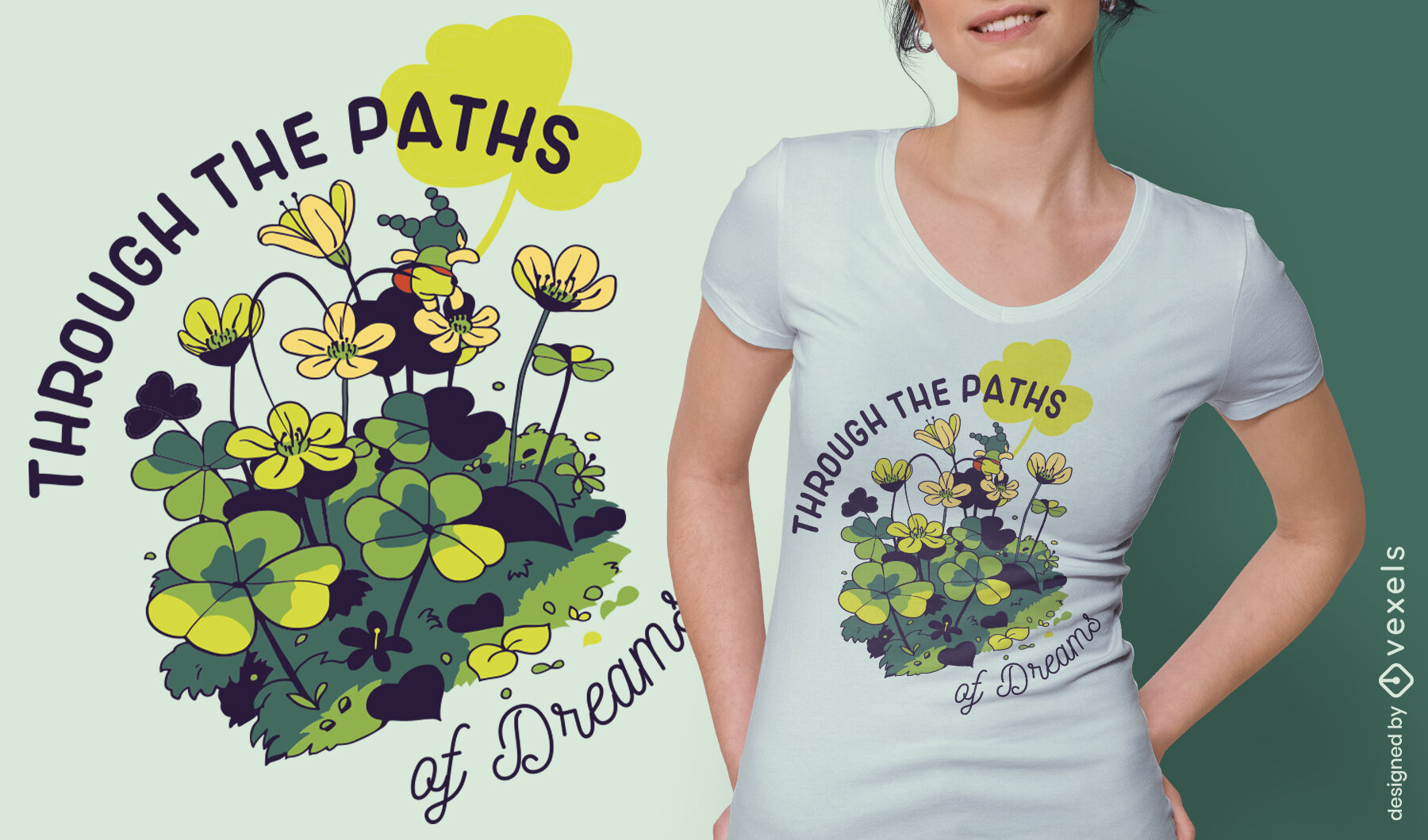 Tiny girl in flowers dreams quote t-shirt design