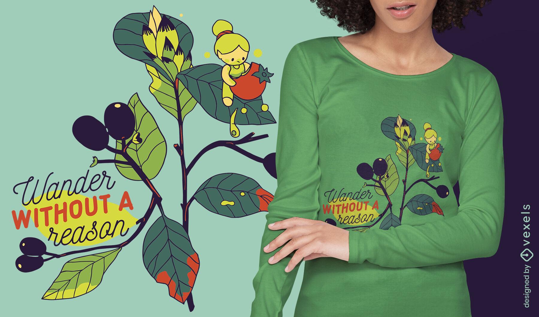 Diseño de camiseta de niña pequeña de cita errante