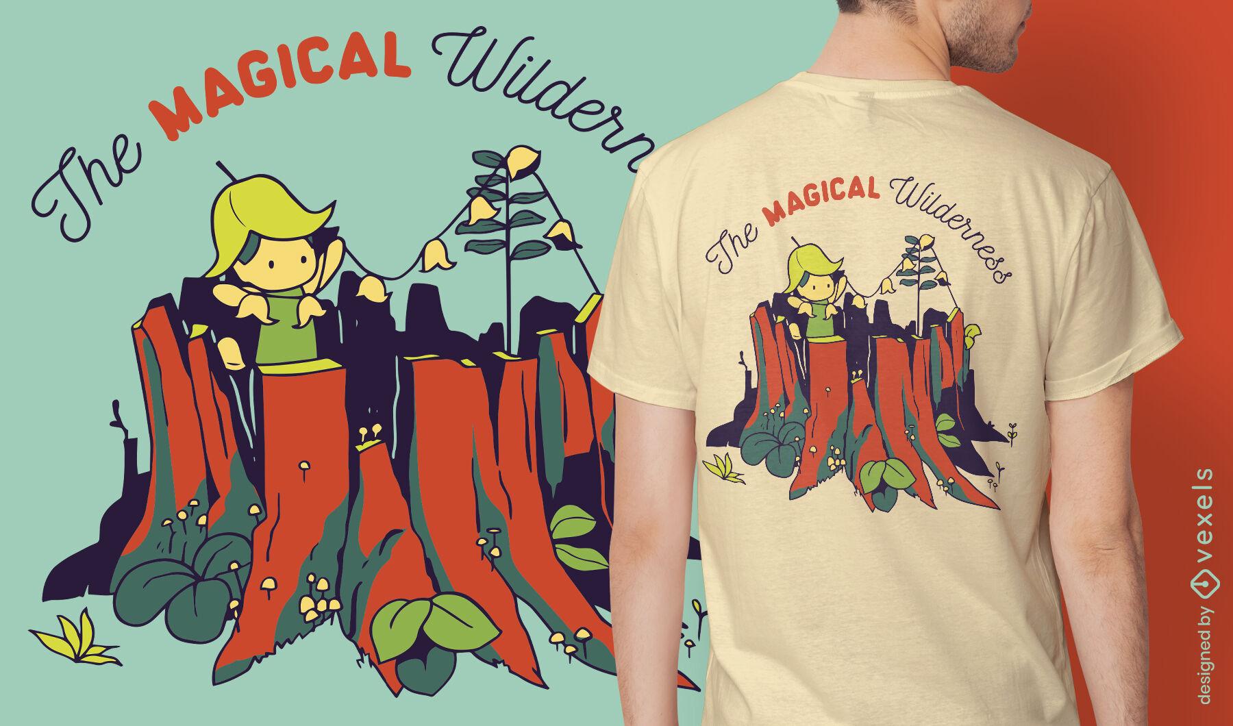 Diseño de camiseta de niña pequeña de desierto mágico
