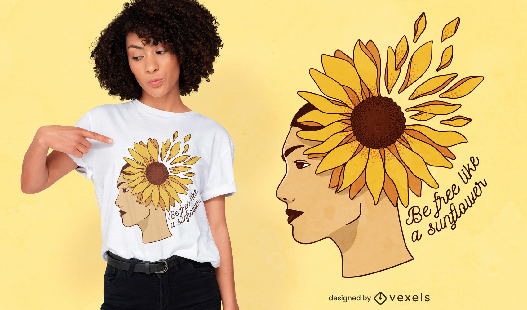Dise?o de camiseta girasol mujer naturaleza.