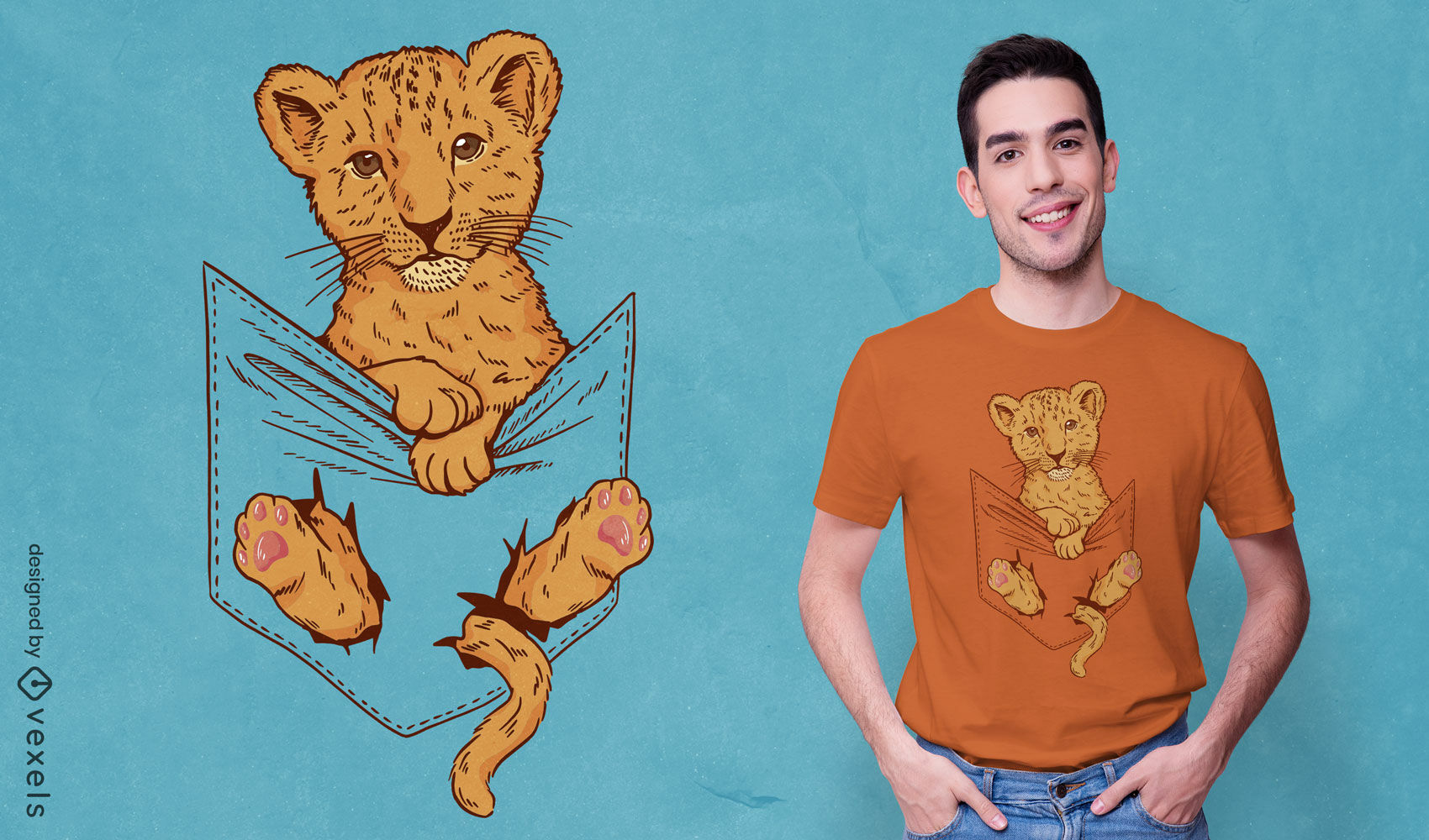 Diseño de camiseta de bebé león en bolsillo de camisa