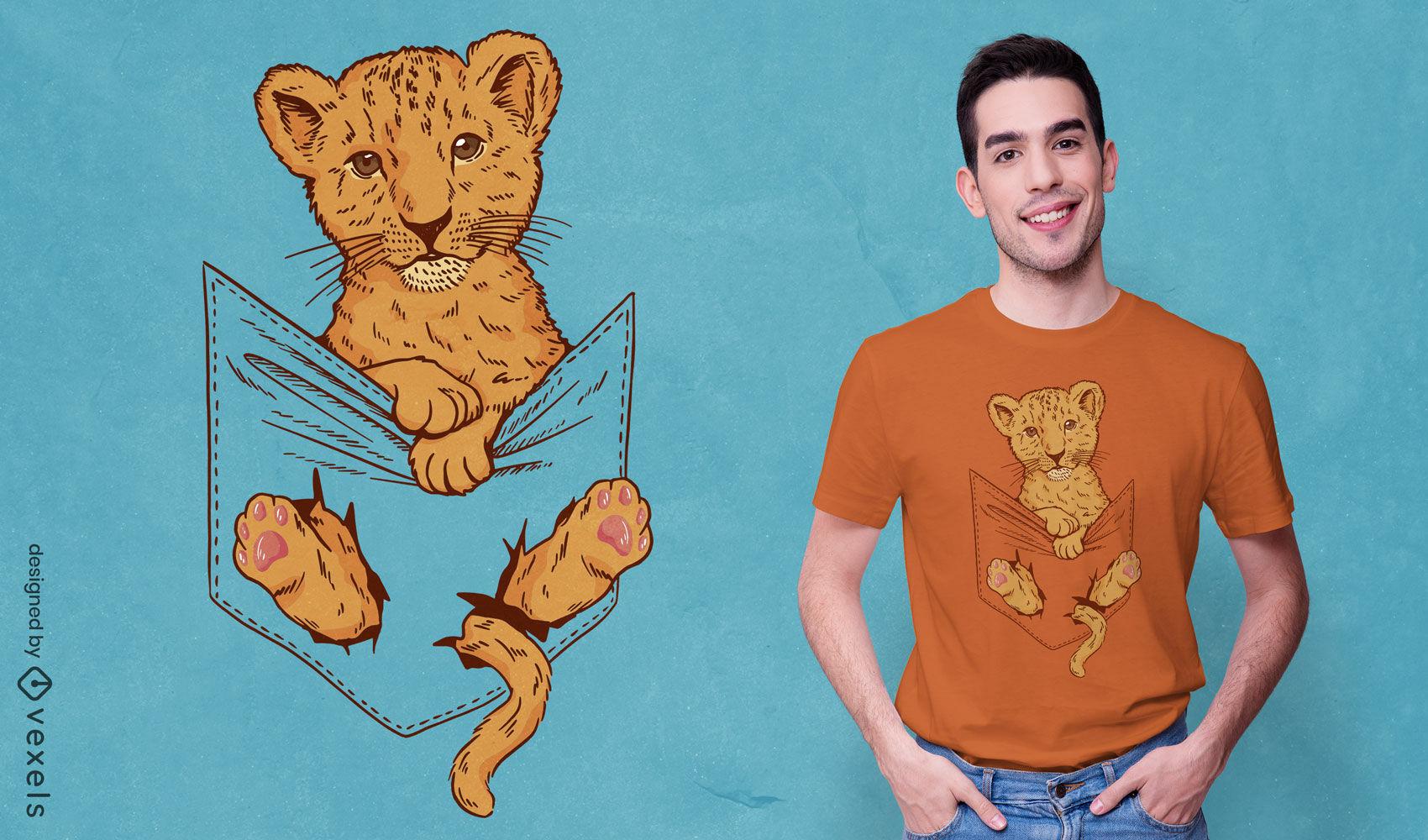 Leão bebê no bolso da camisa com design de camiseta