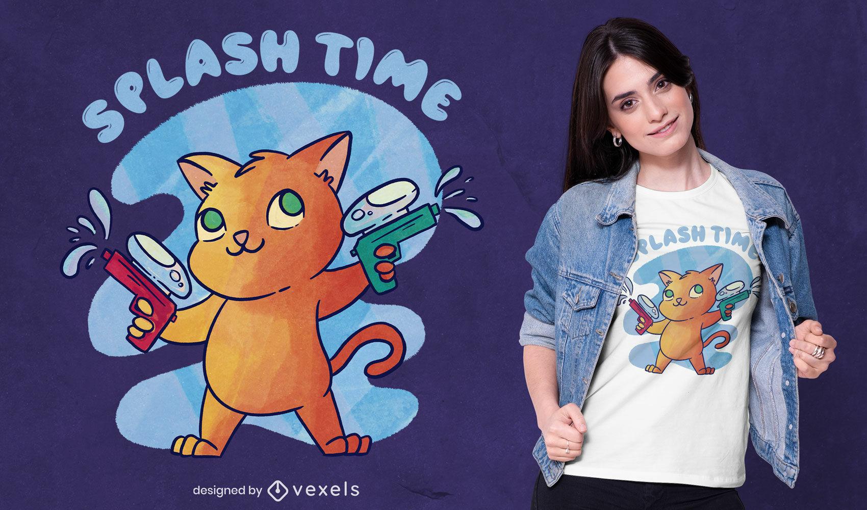 Diseño de camiseta de gato con pistolas de agua psd